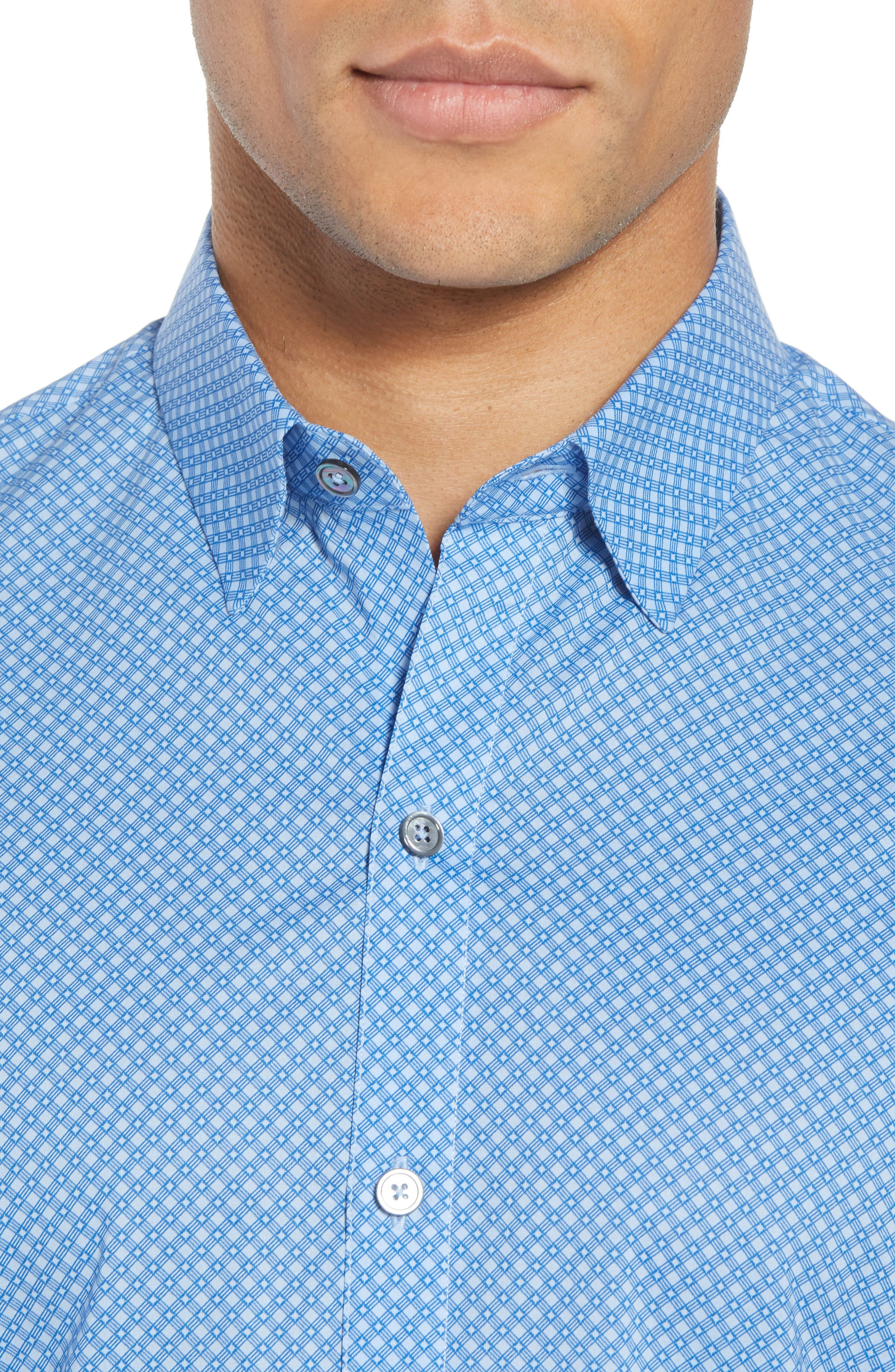 Ethan Slim Fit Sport Shirt,                             Alternate thumbnail 4, color,                             Blue