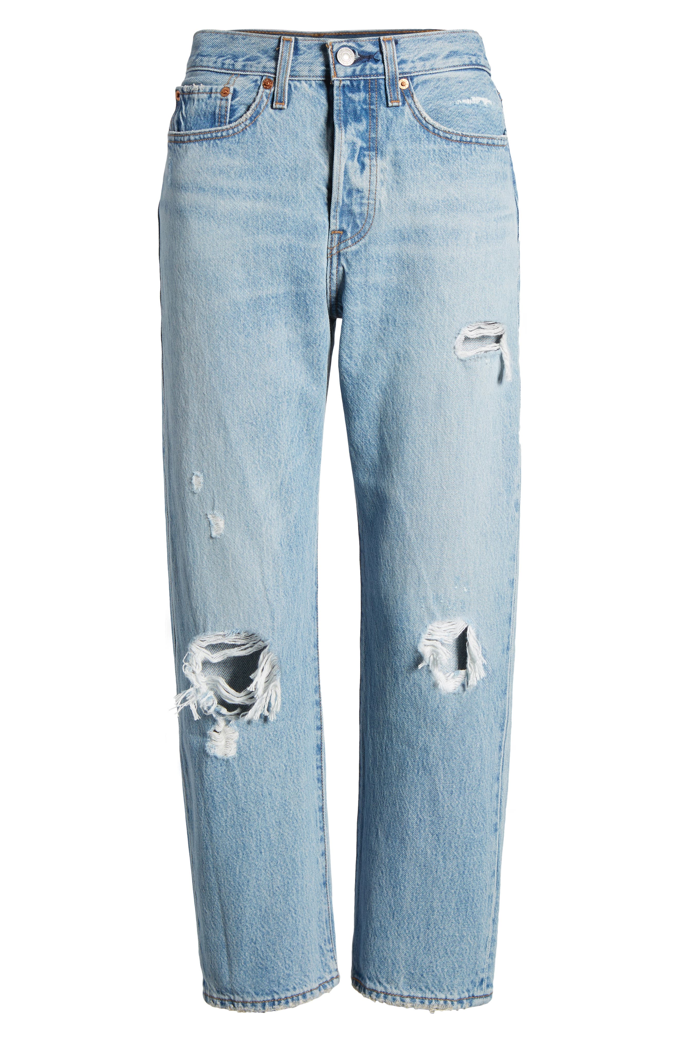 Wedgie Ripped Straight Leg Jeans,                             Alternate thumbnail 6, color,                             Authentically Yours