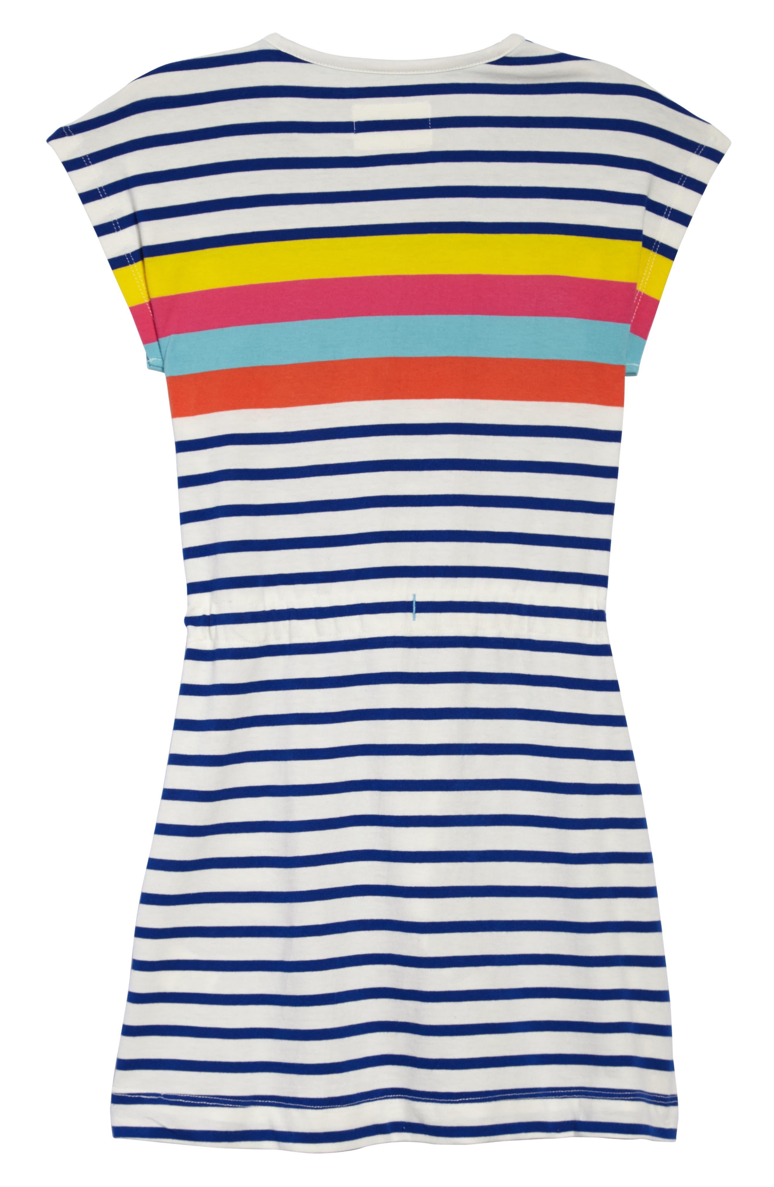 Tie Waist Jersey Dress,                             Alternate thumbnail 2, color,                             Sunshine Yellow/ Pink Stripe