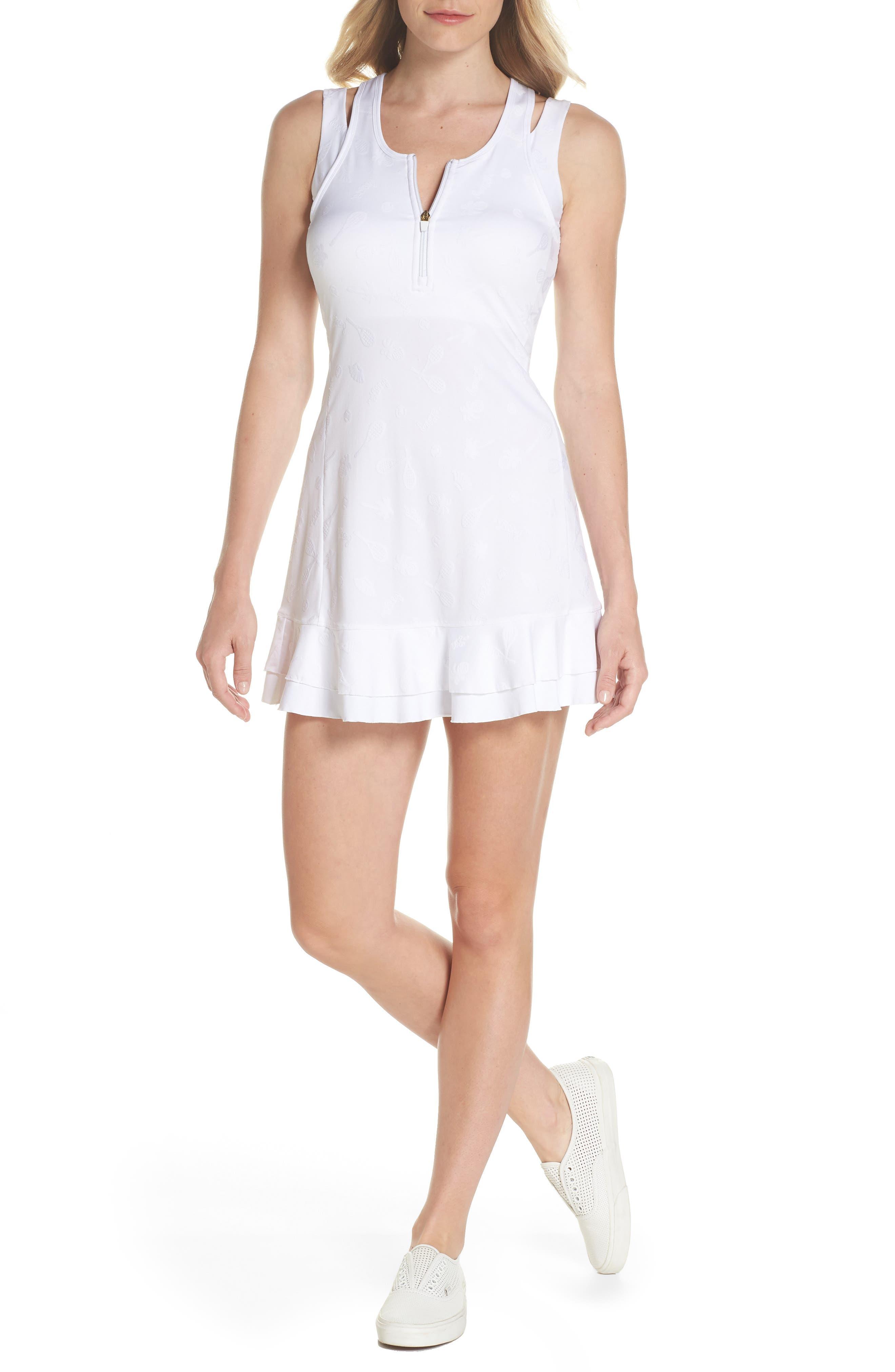 Delphina UPF 50+ Tennis Dress,                             Main thumbnail 1, color,                             Resort White Perfect Match Jaq