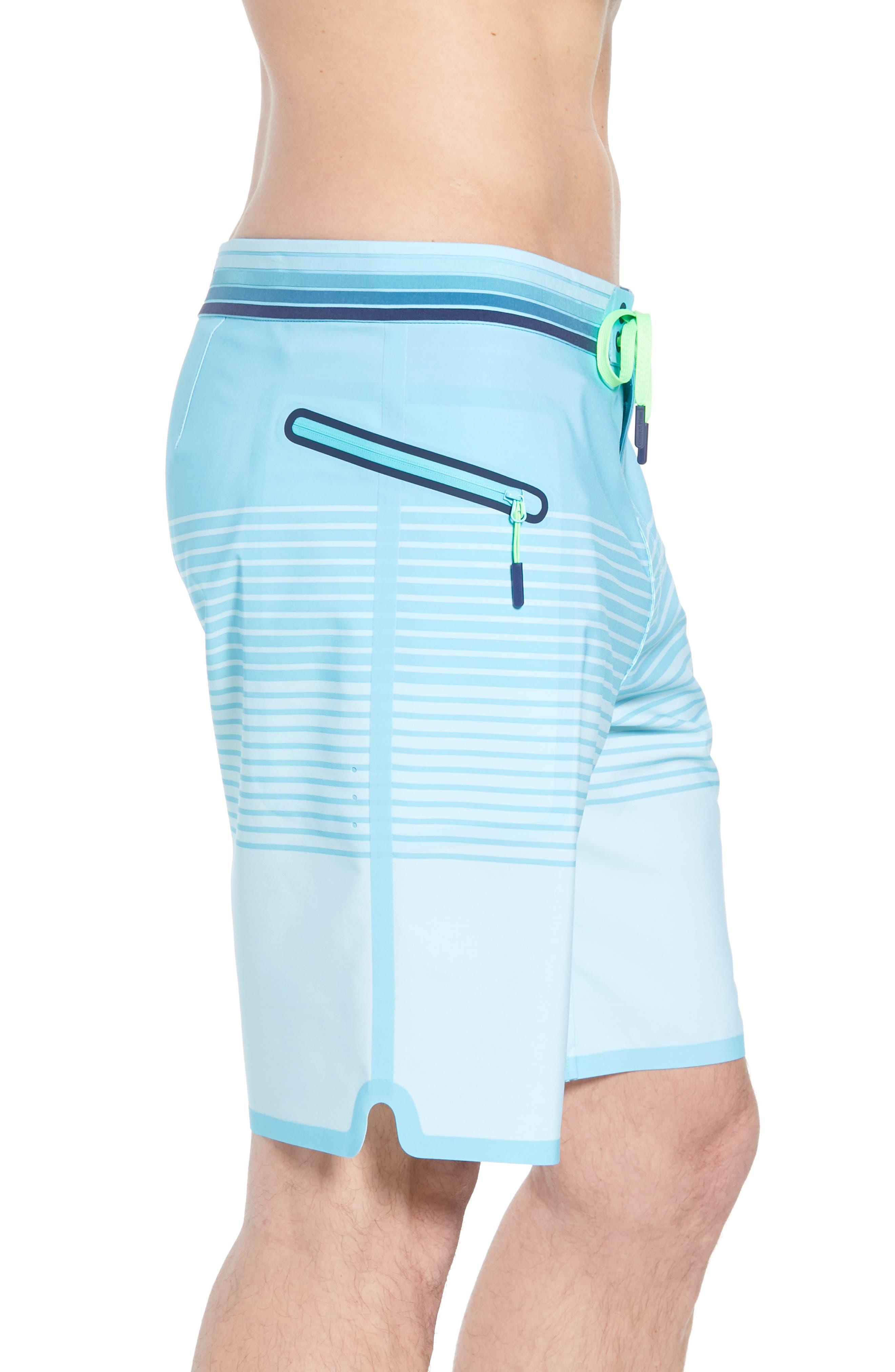 Sculplin Stripe Tech Board Shorts,                             Alternate thumbnail 4, color,                             Turquoise