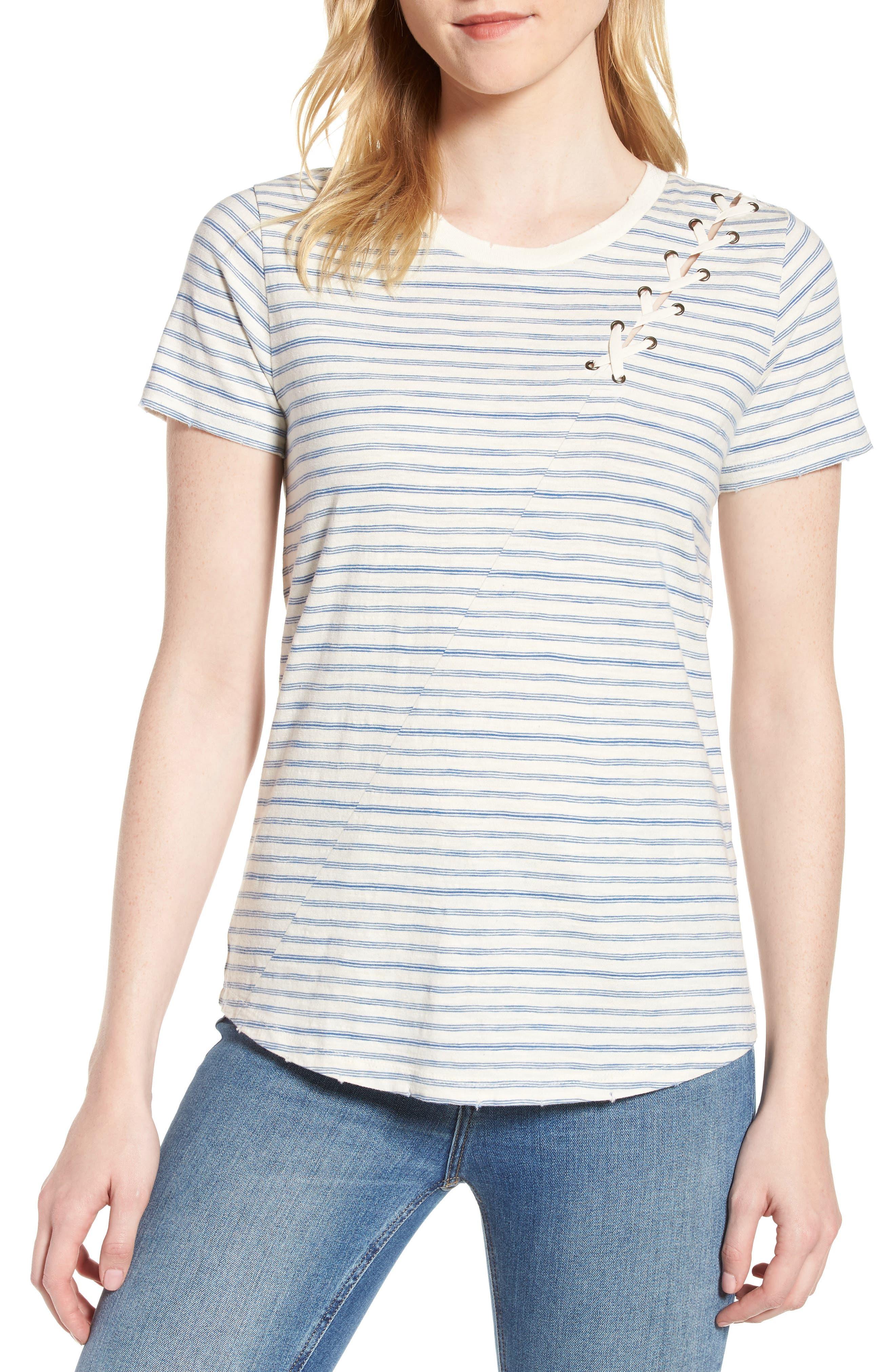 Lace-Up Shoulder Stripe Tee,                         Main,                         color, Blue Multi