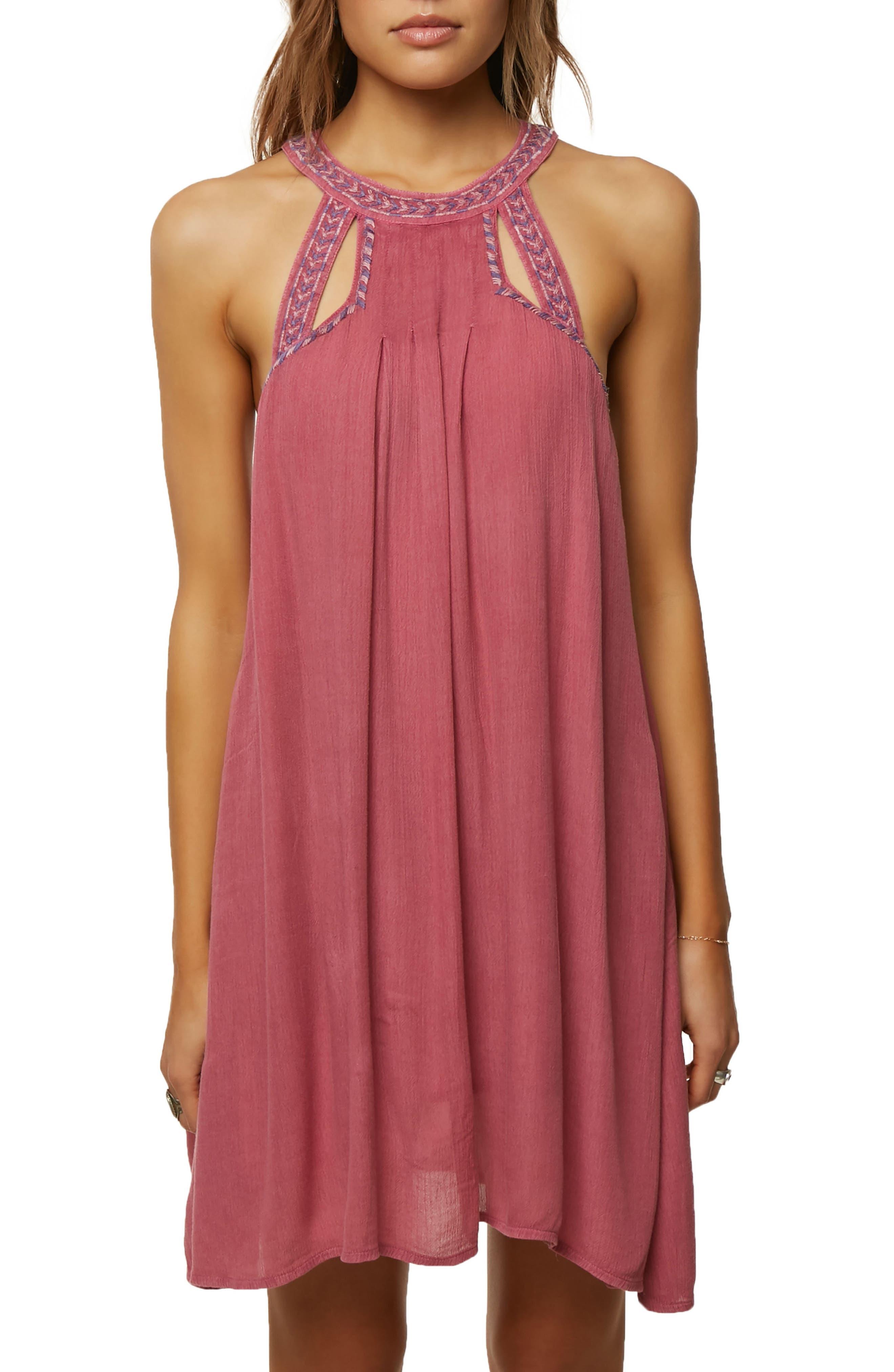 Luminous Embroidered Trapeze Dress,                         Main,                         color, Magenta Haze