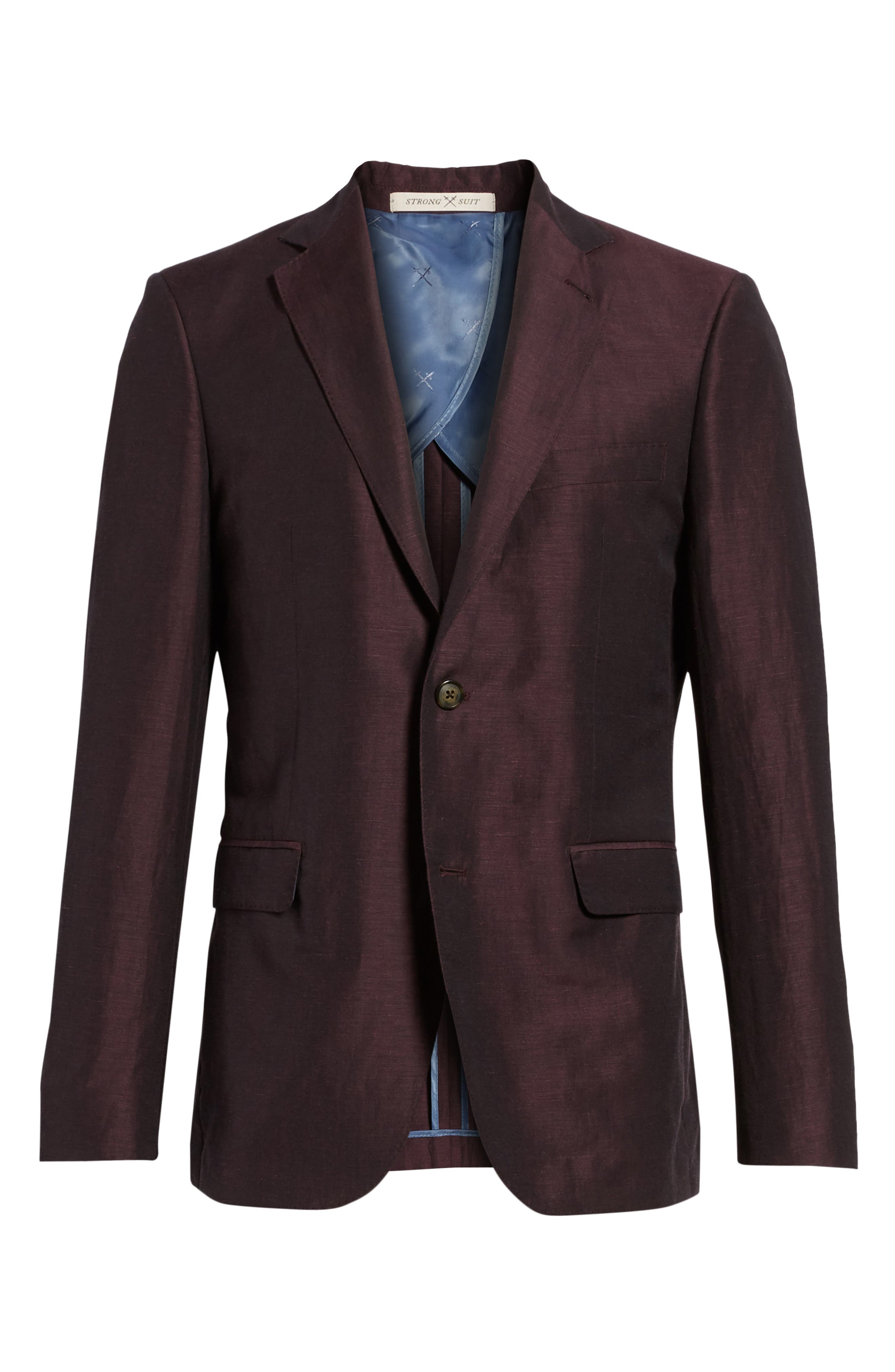 Shelby Trim Fit Wool & Linen Suit Jacket,                             Alternate thumbnail 6, color,                             Plum