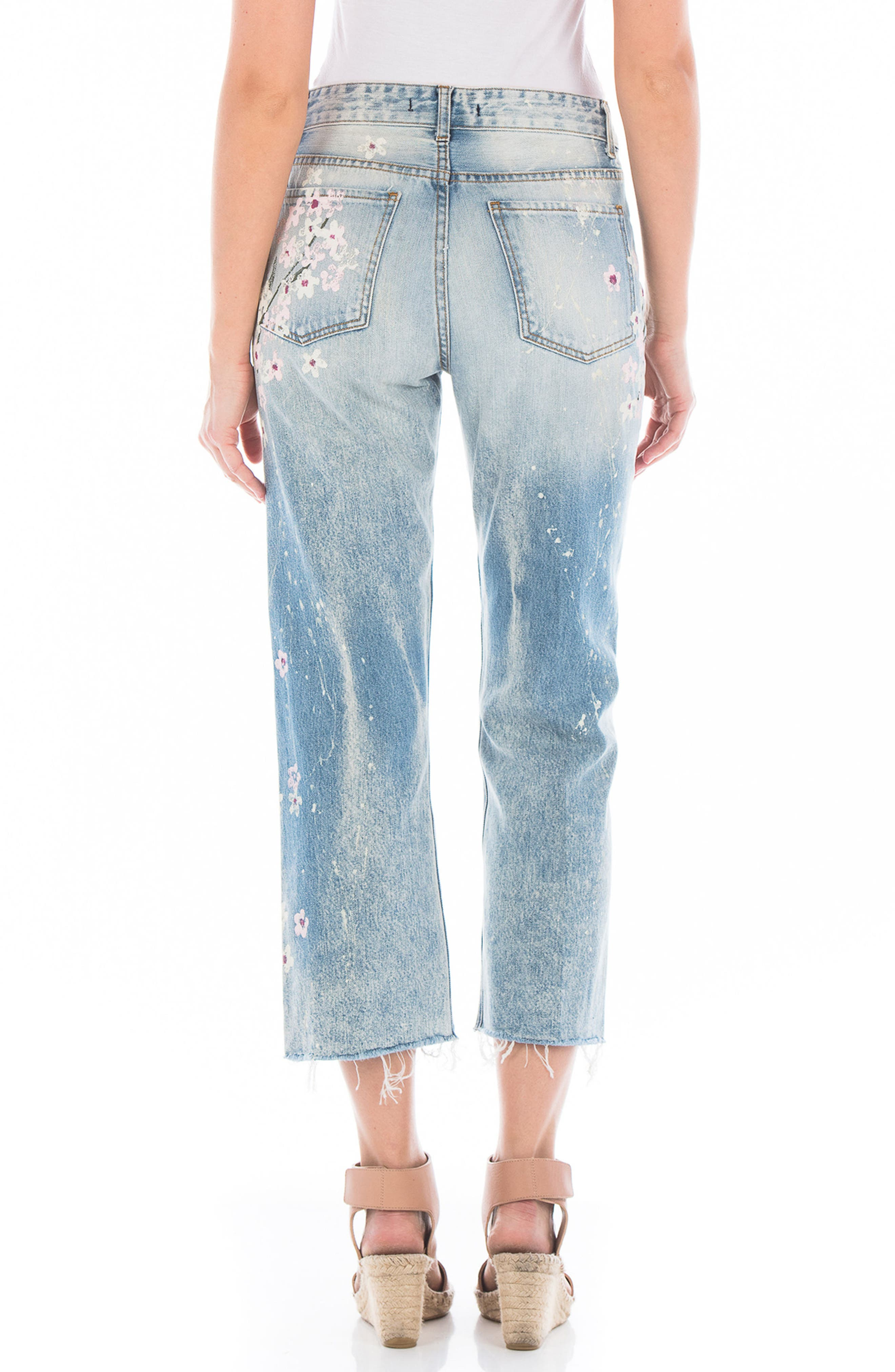 Taylor Painted Crop Wide Leg Jeans,                             Alternate thumbnail 2, color,                             Cherry Blossom