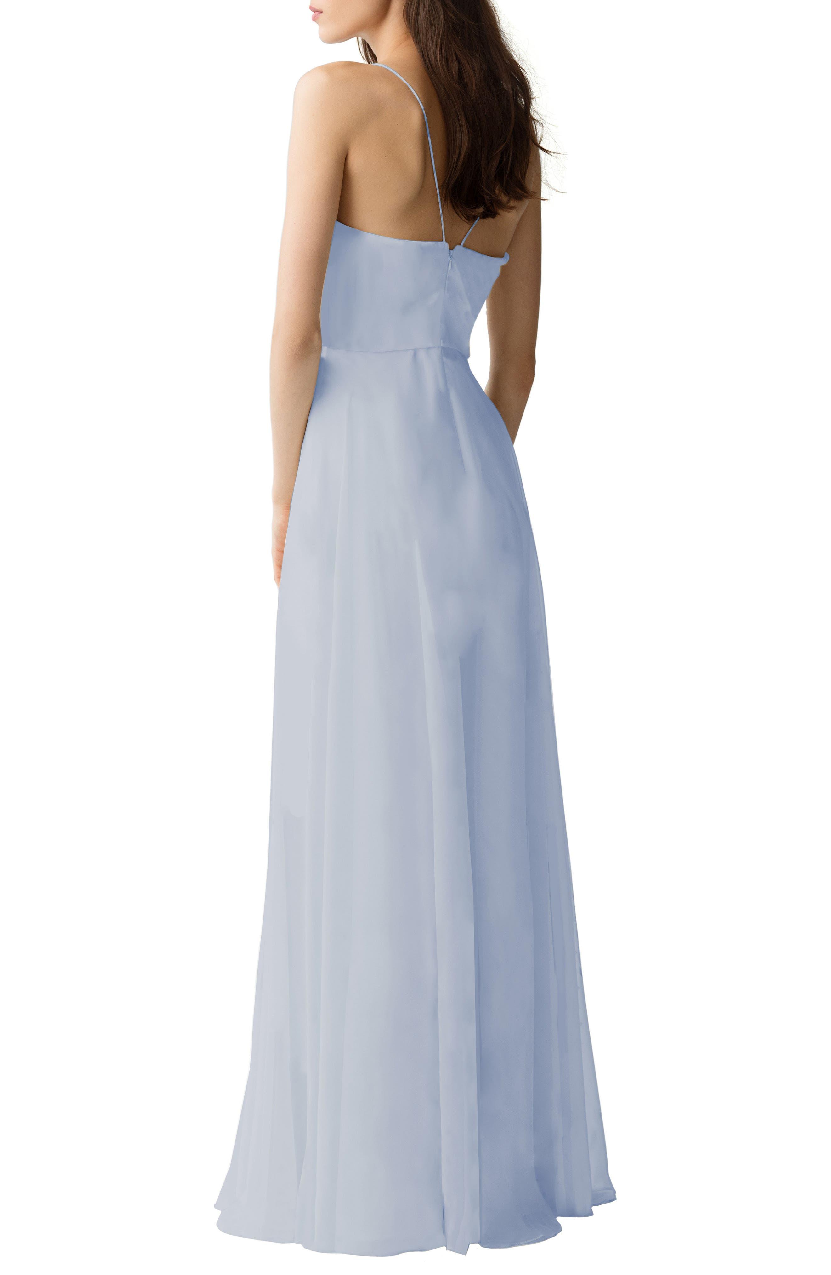 Inesse Chiffon V-Neck Spaghetti Strap Gown,                             Alternate thumbnail 2, color,                             Whisper Blue