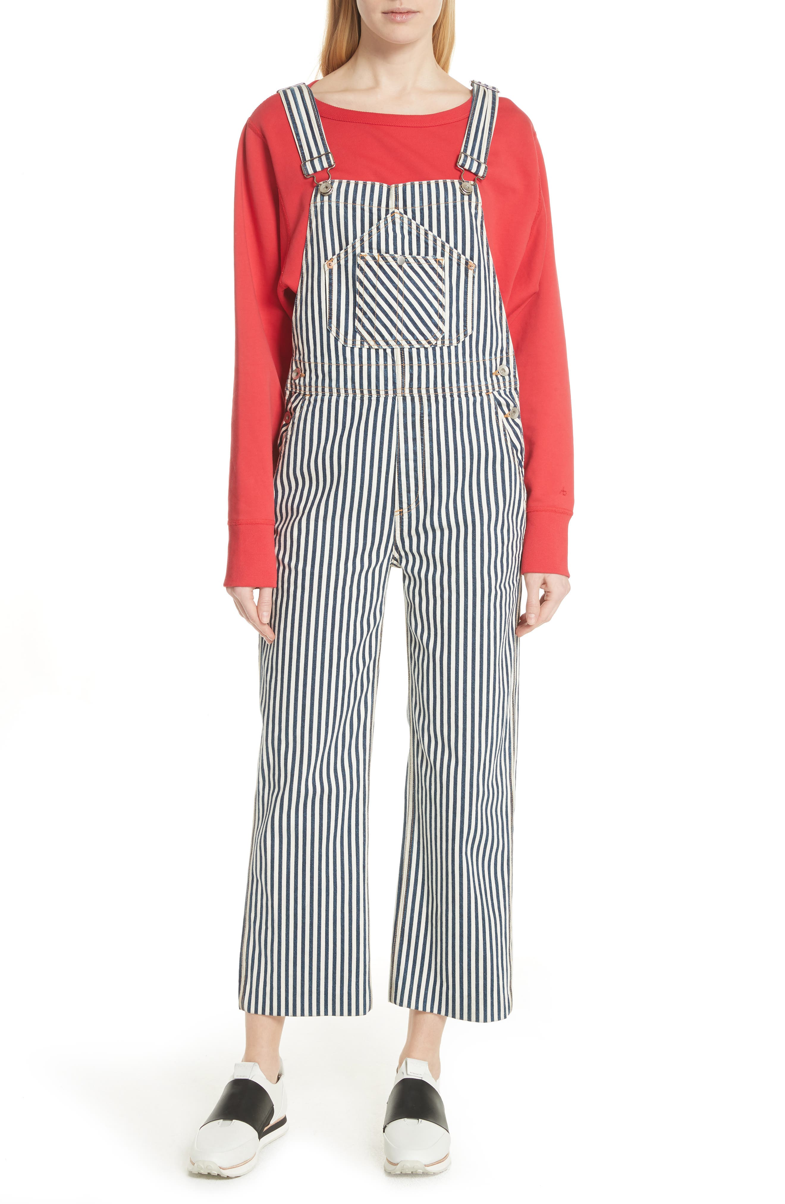 Patched Dungarees,                         Main,                         color, Indigo Stripe