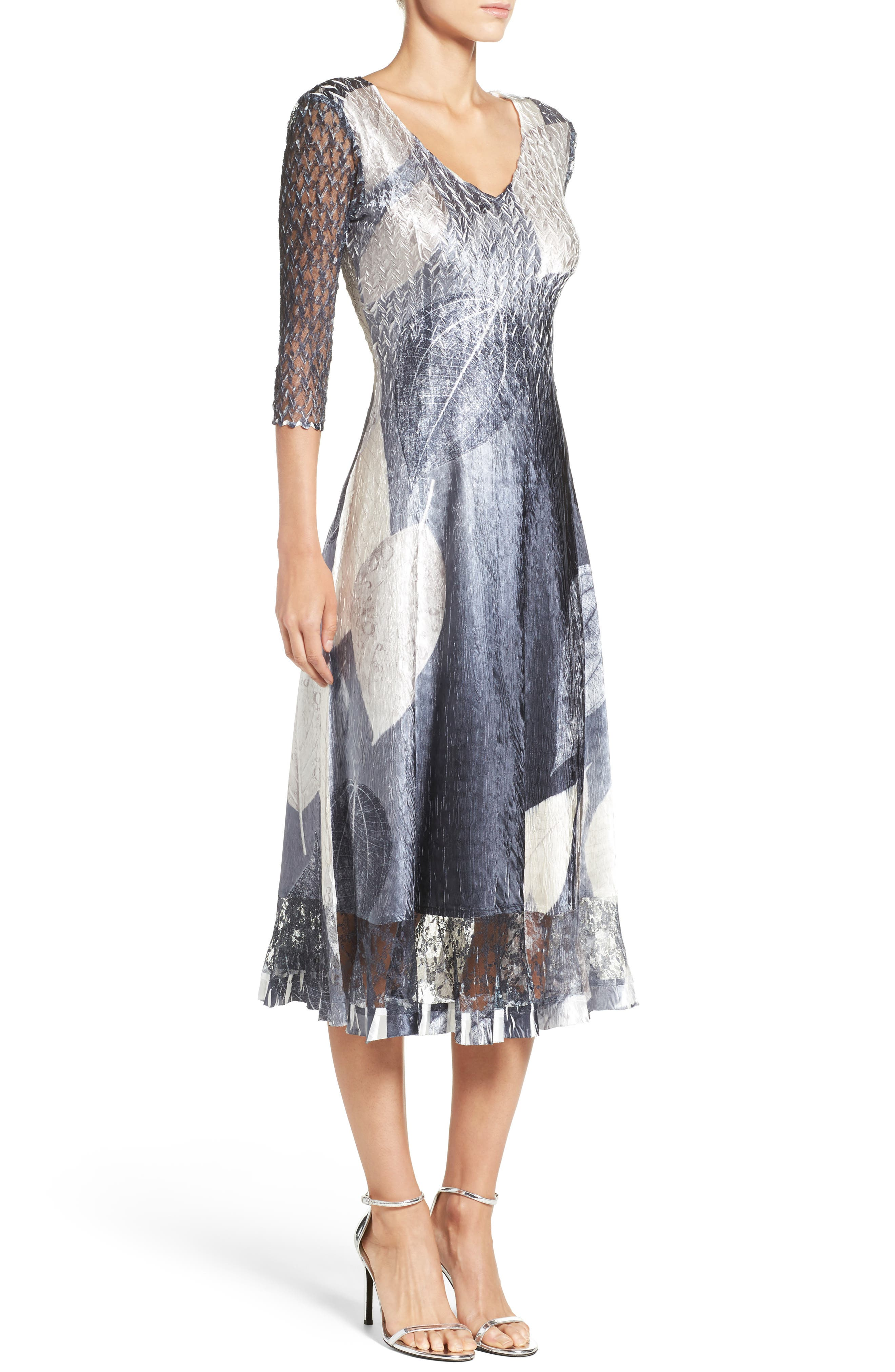 Alternate Image 3  - Komarov Print Charmeuse & Lace A-Line Dress (Regular & Petite)
