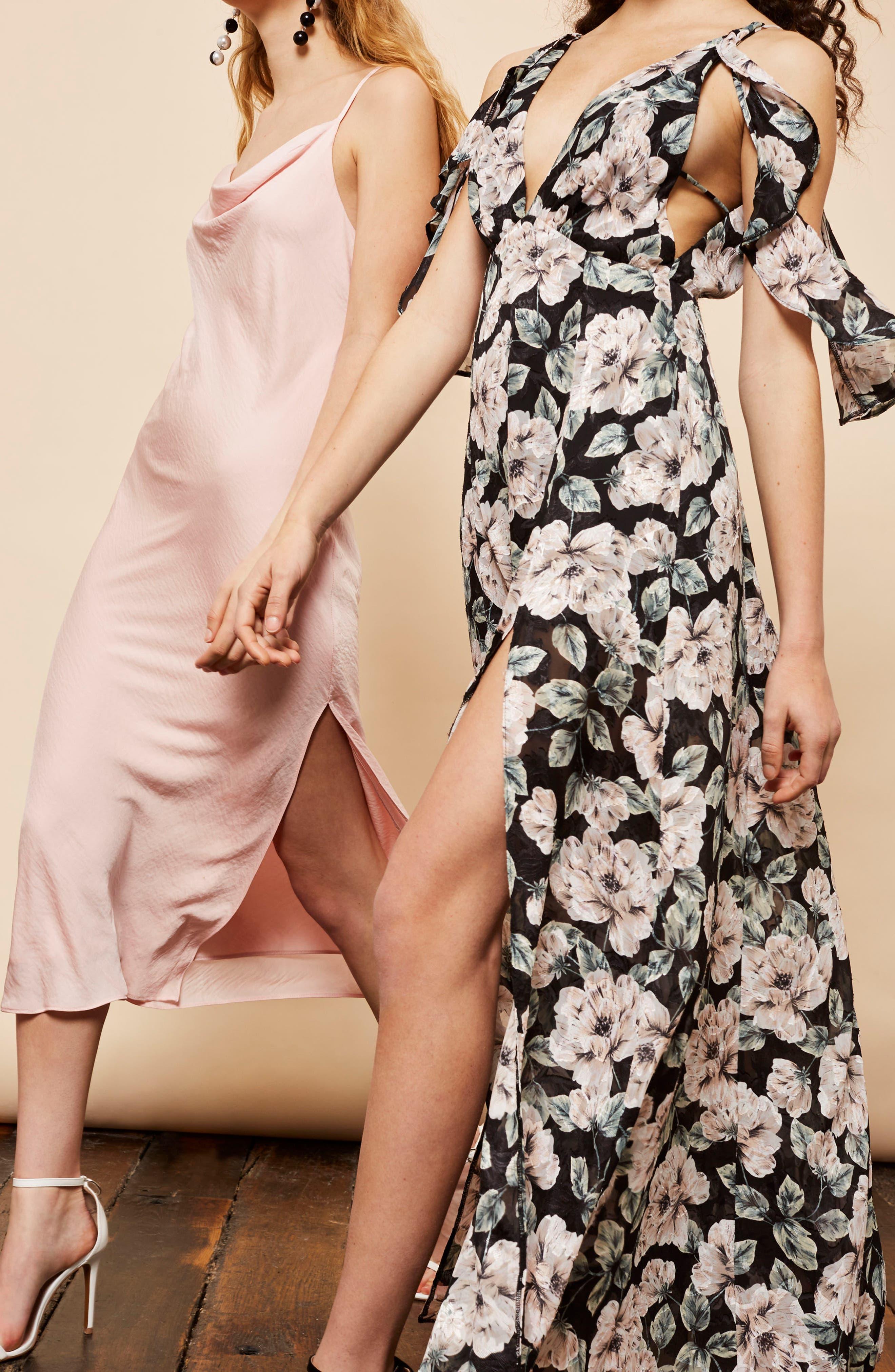 Cowl Neck Satin Midi Dress,                             Alternate thumbnail 7, color,