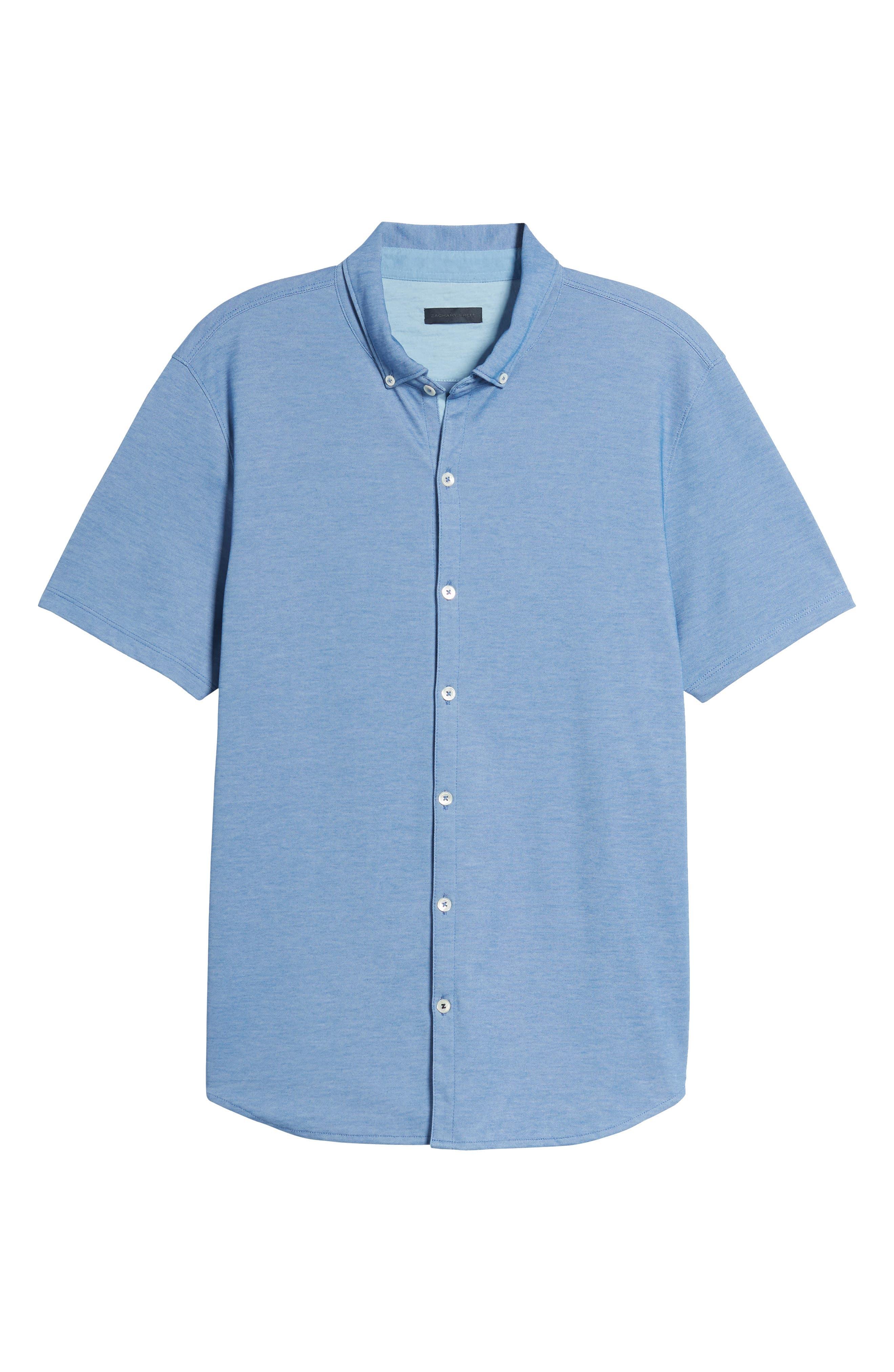 Caruth Piqué Sport Shirt,                             Alternate thumbnail 6, color,                             Azure