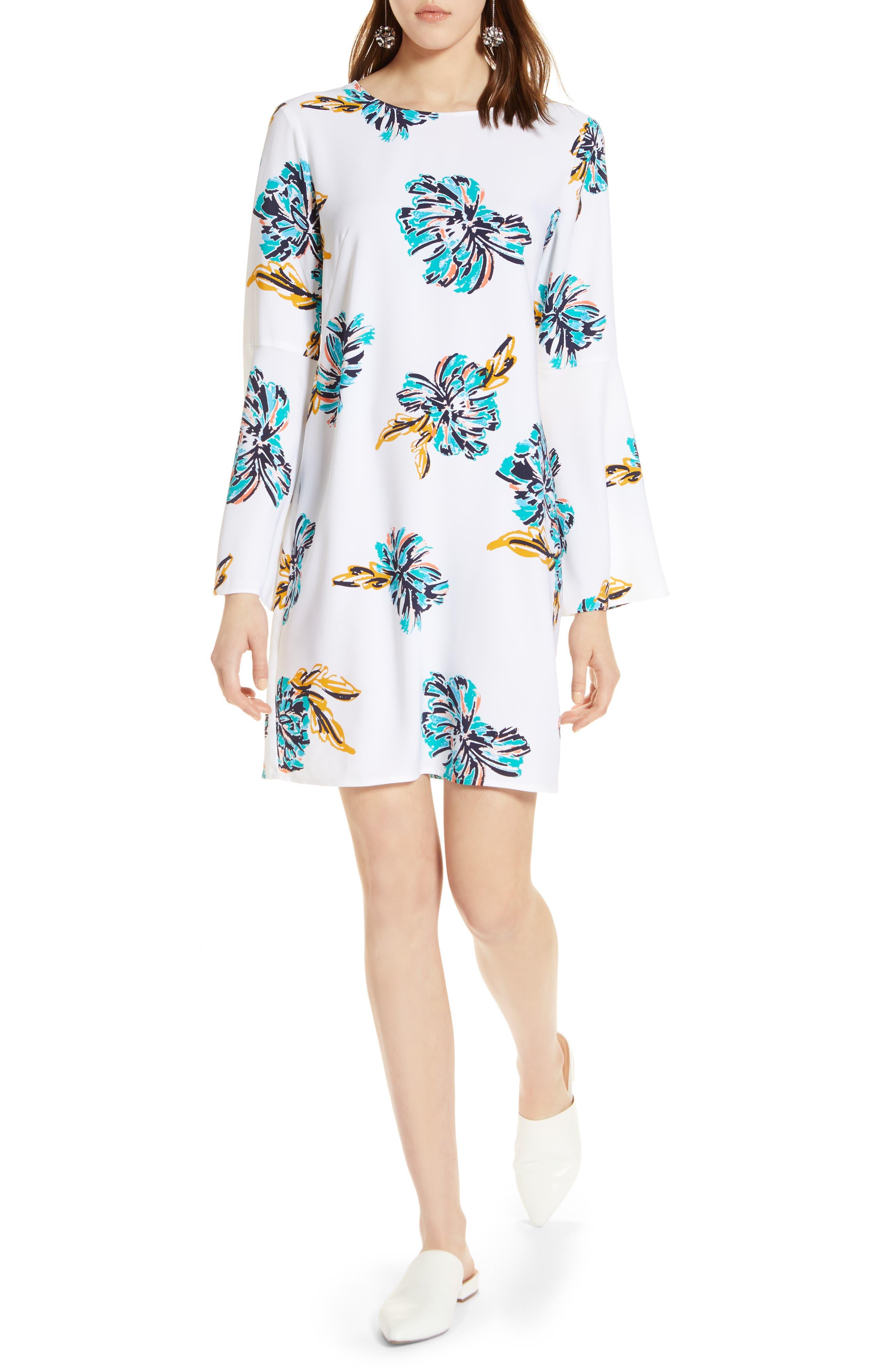 Halogen® Bow Back Floral Shift Dress (Regular & Petite)