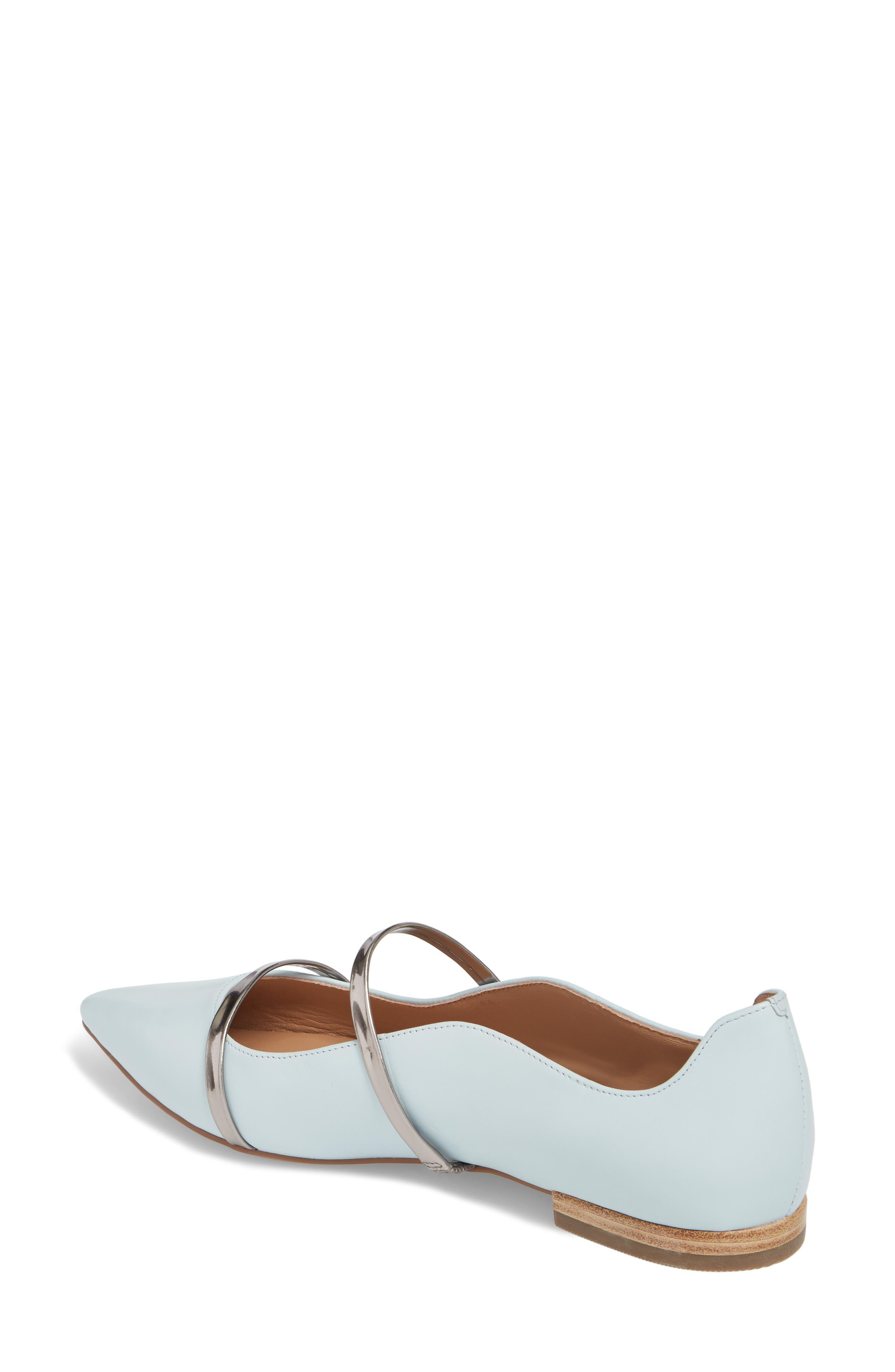 Emily Pointy Toe Flat,                             Alternate thumbnail 2, color,                             Pale Blue/ Gunmetal Leather