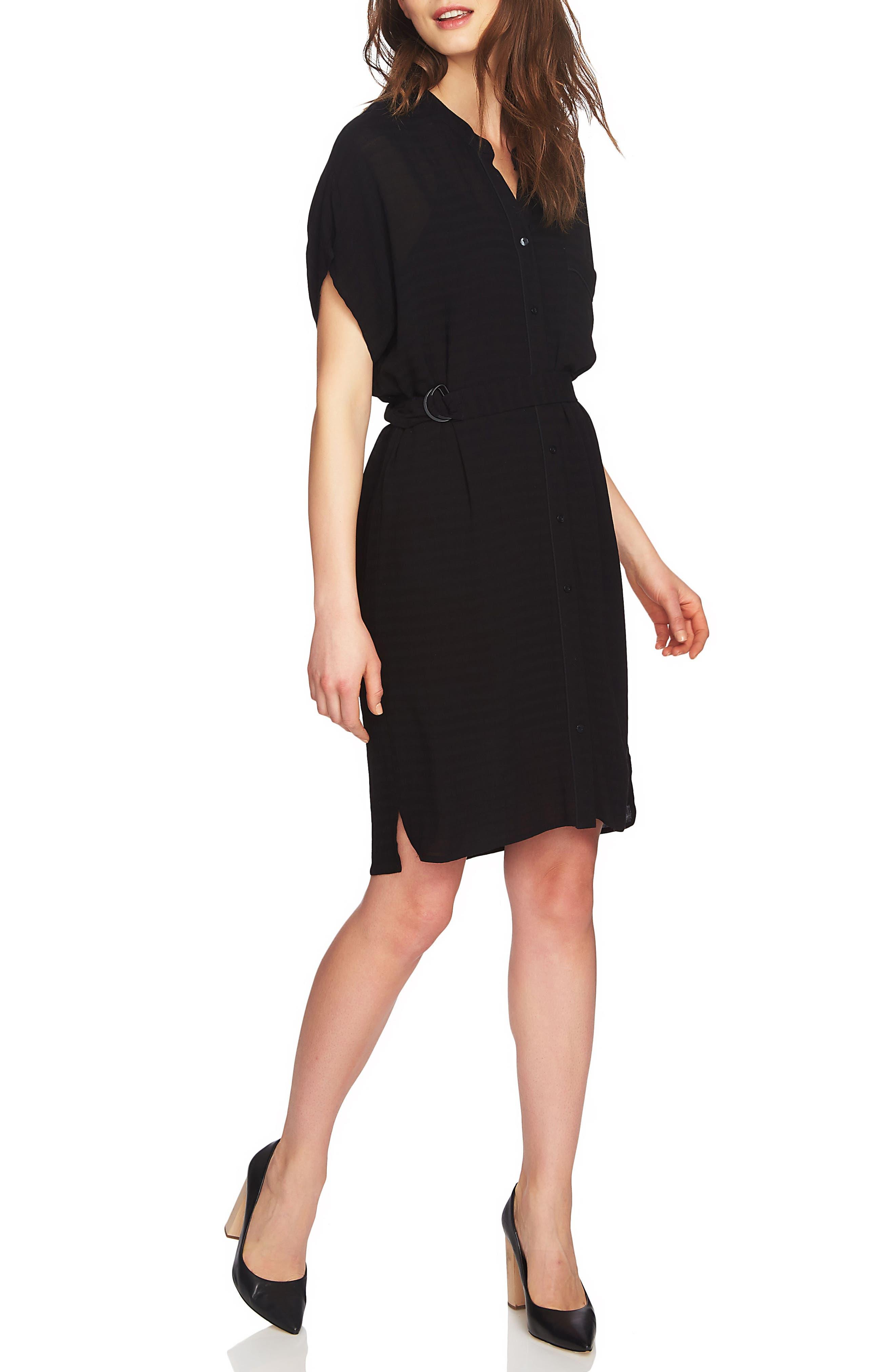 Belted Shirtdress,                             Main thumbnail 1, color,                             Rich Black