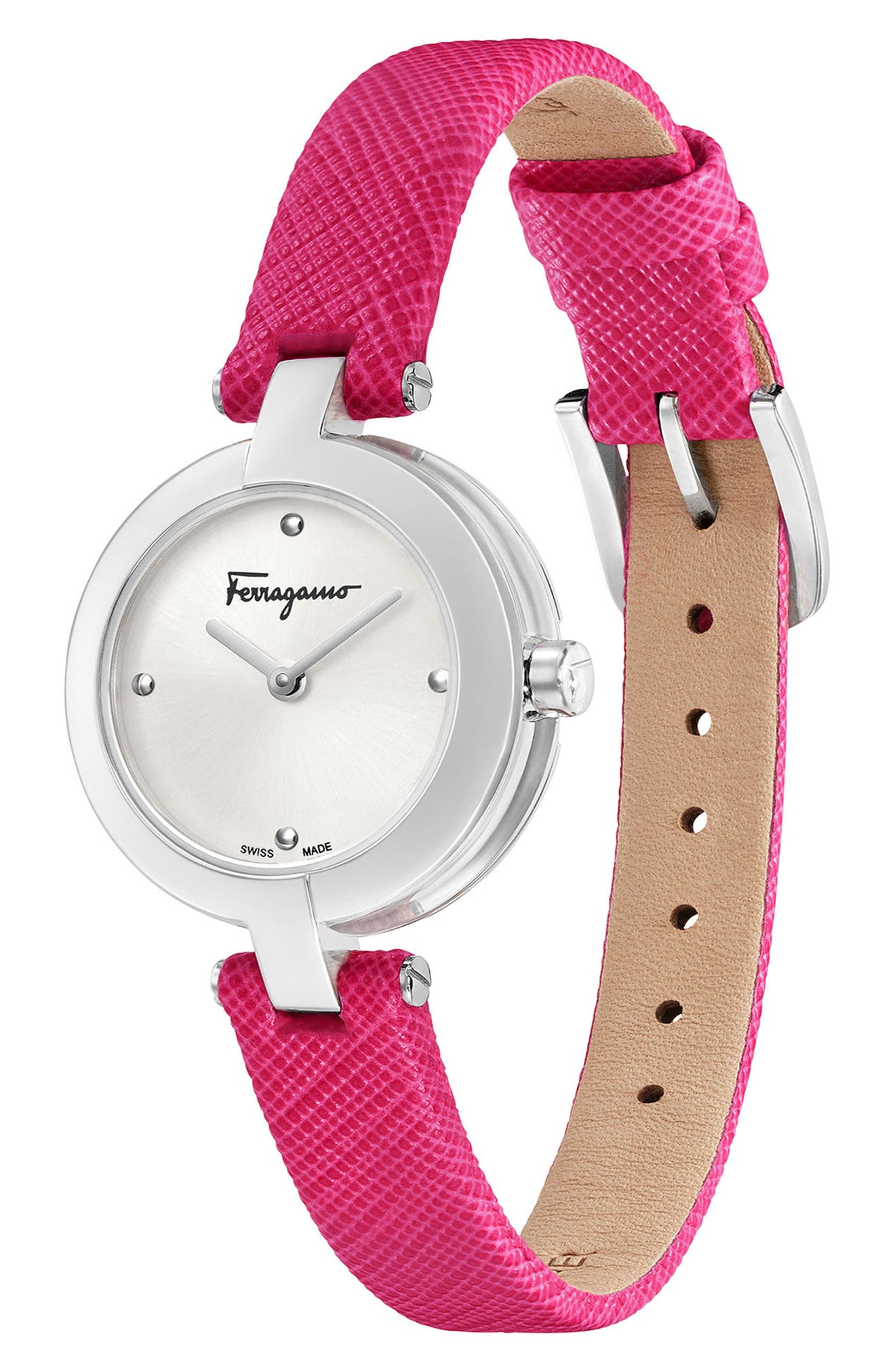 Miniature Leather Strap Watch, 26mm,                             Alternate thumbnail 4, color,                             Fuchsia/ Silver