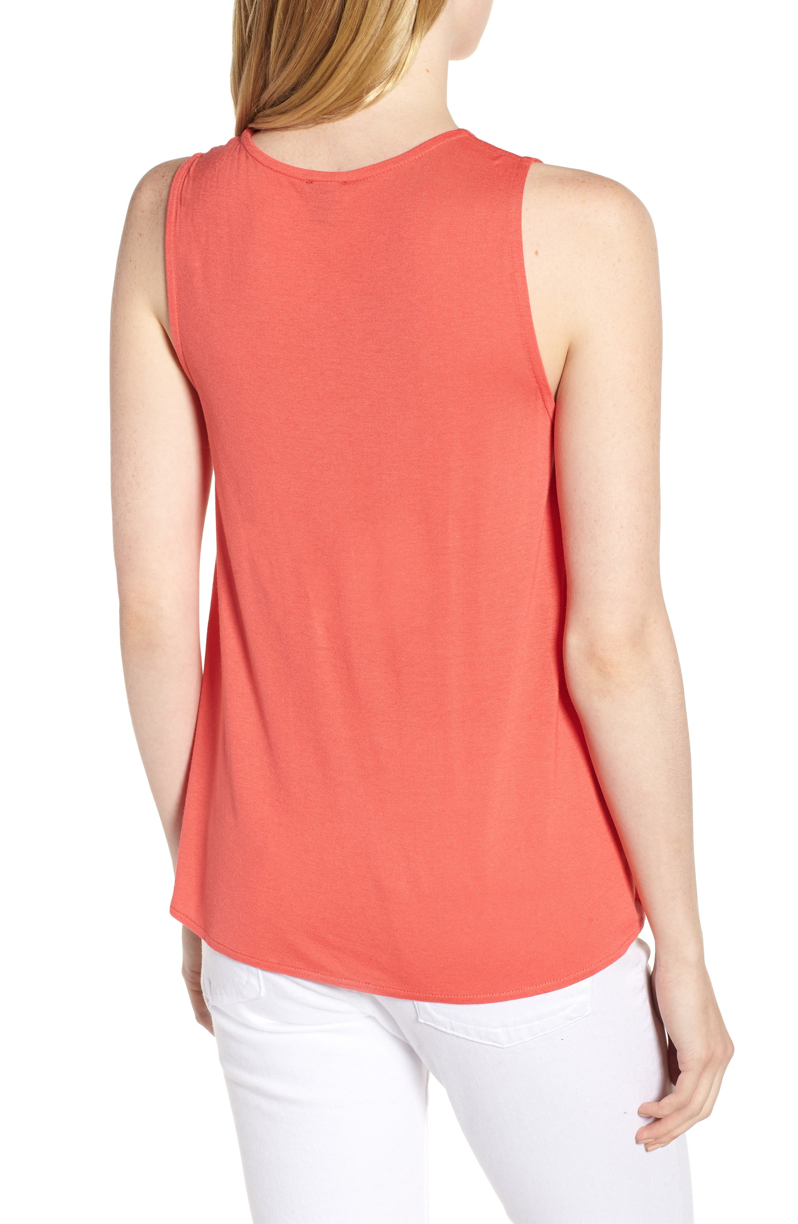 J.Crew Pleated Swing Tank Top,                             Alternate thumbnail 2, color,                             Coral