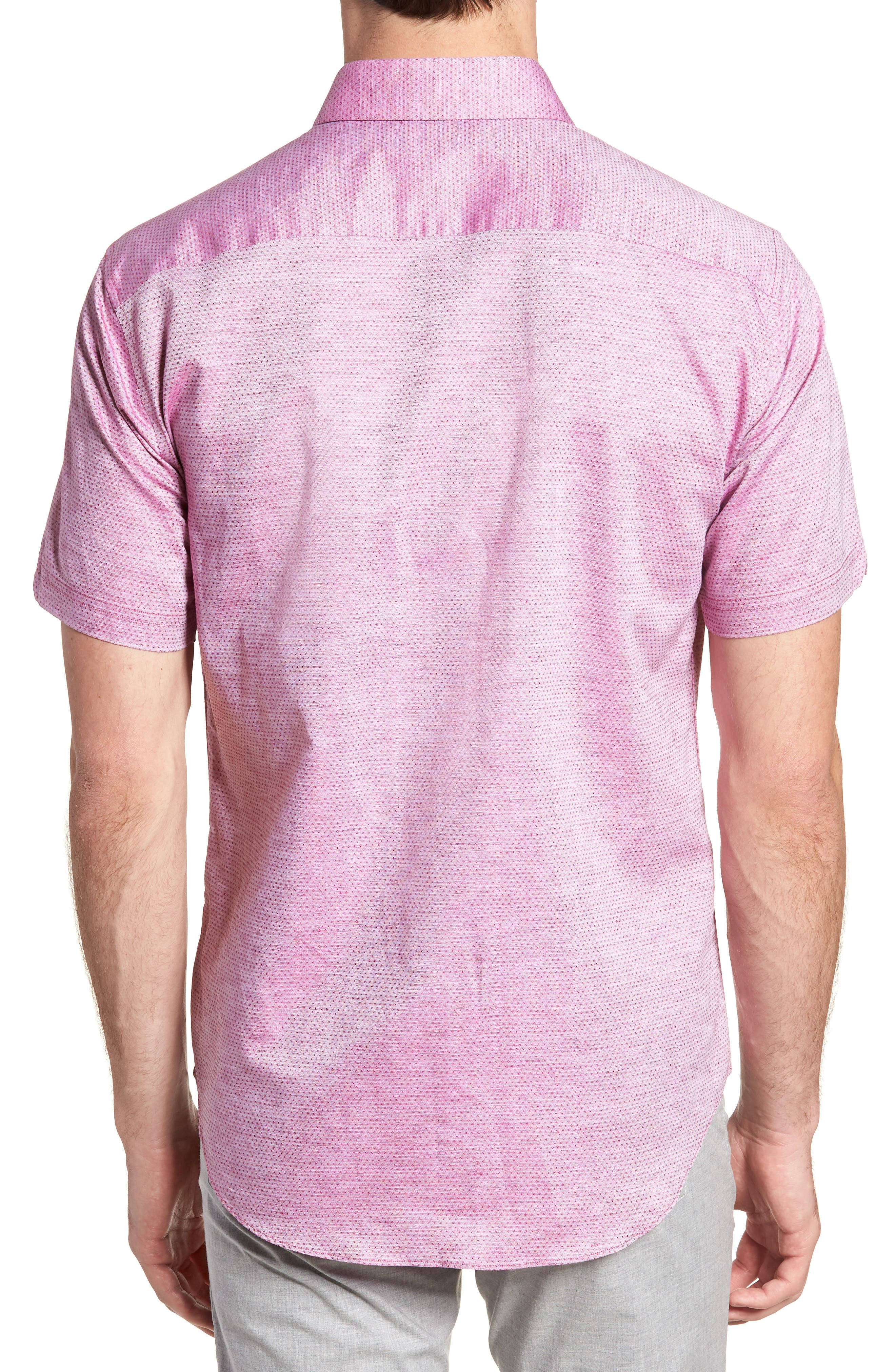 Wilcox Regular Fit Dobby Sport Shirt,                             Alternate thumbnail 3, color,                             Pink