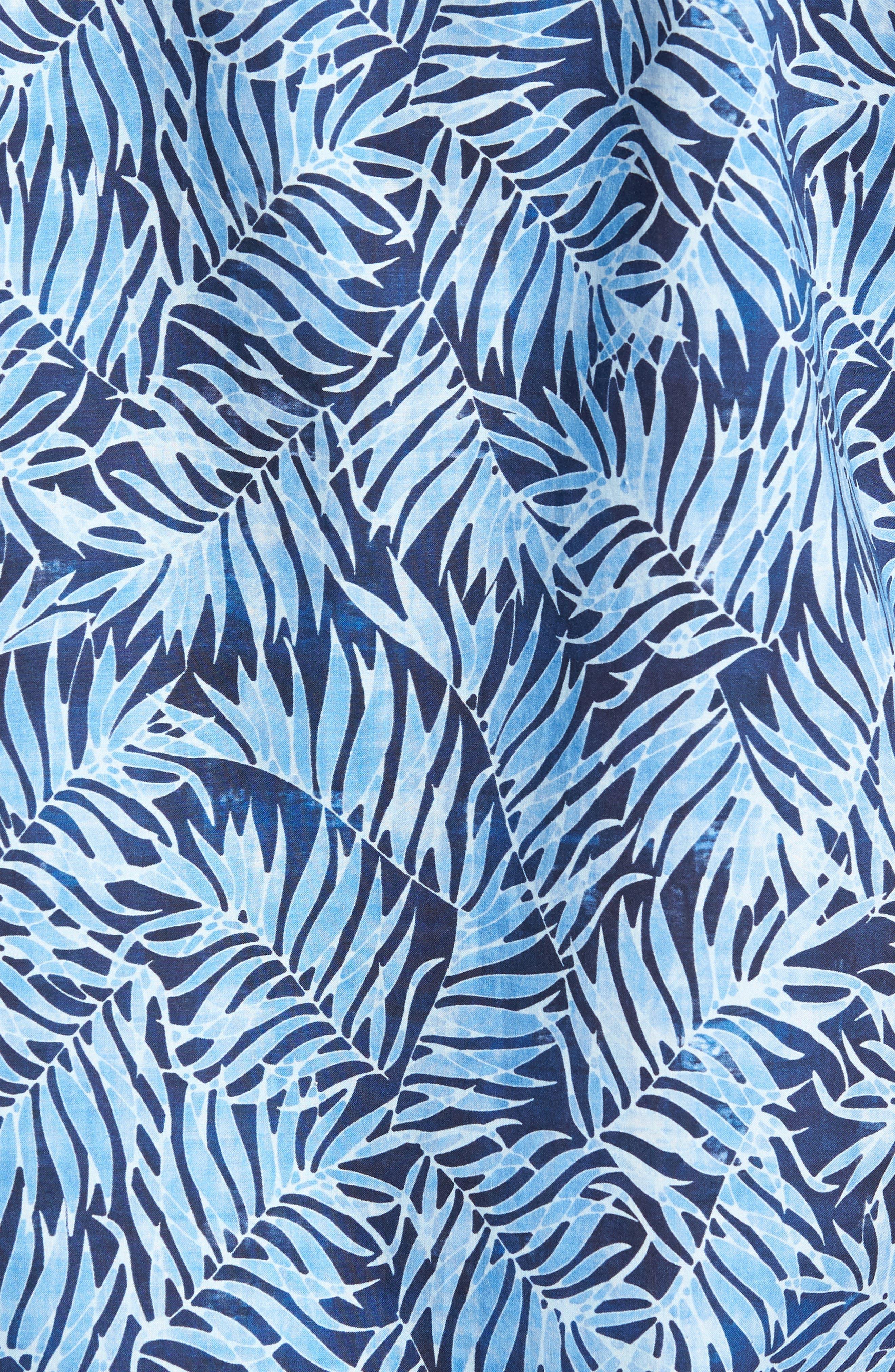 Slack Palm Print Sport Shirt,                             Alternate thumbnail 5, color,                             Navy