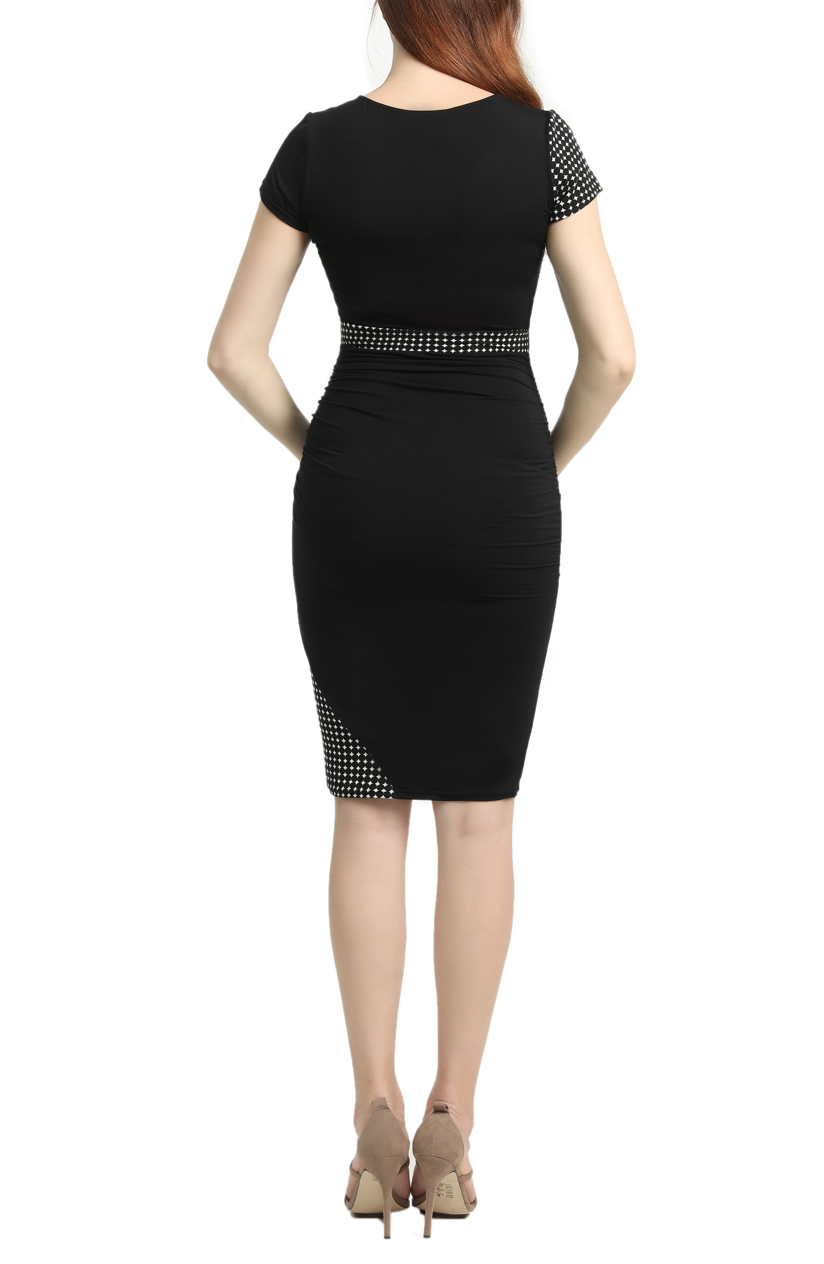 Gabby Colorblock Body-Con Maternity Dress,                             Alternate thumbnail 2, color,                             Black/ White