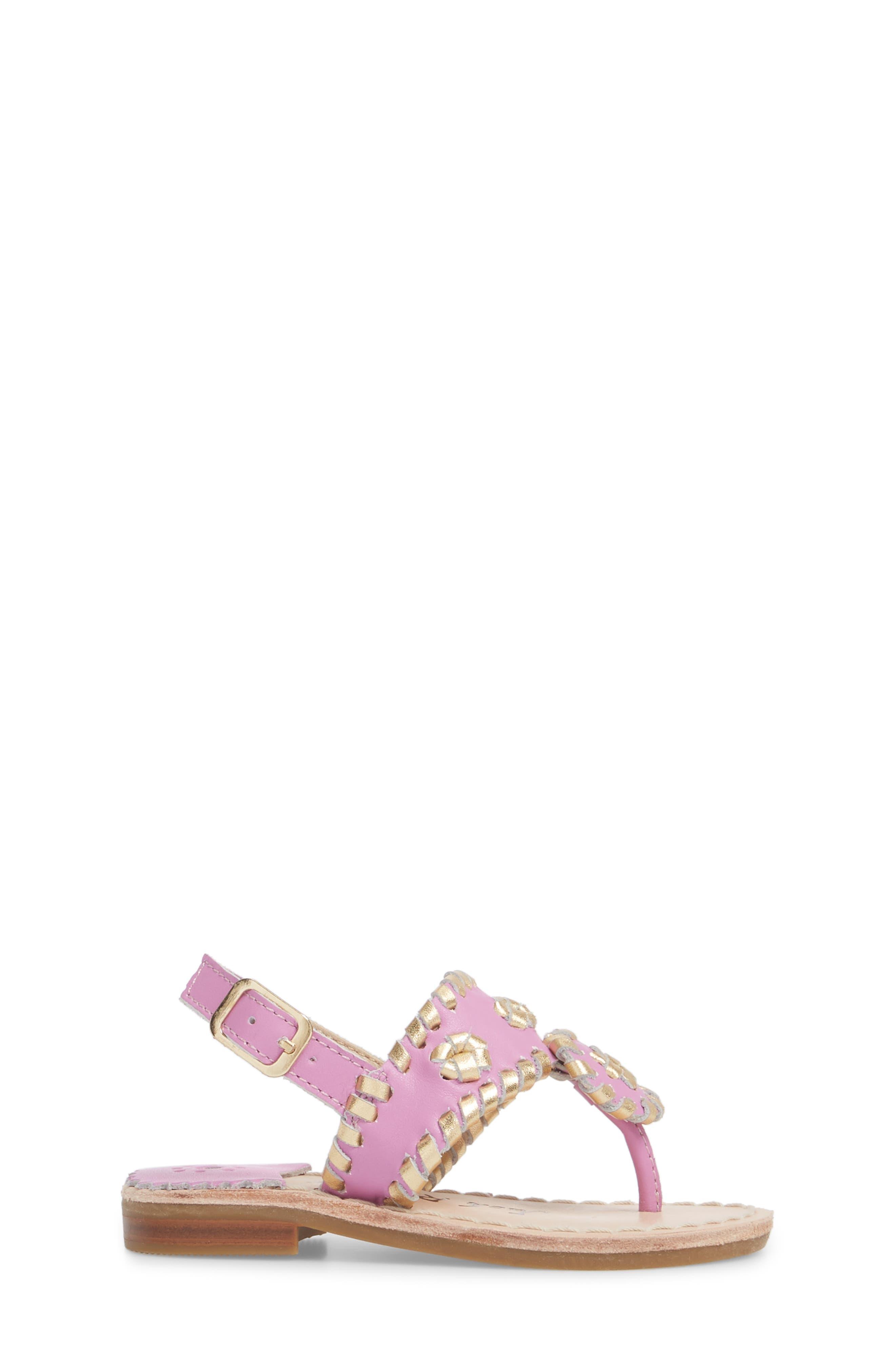 Little Miss Hollis Metallic Trim Sandal,                             Alternate thumbnail 3, color,                             Lavender Pink/ Gold Leather