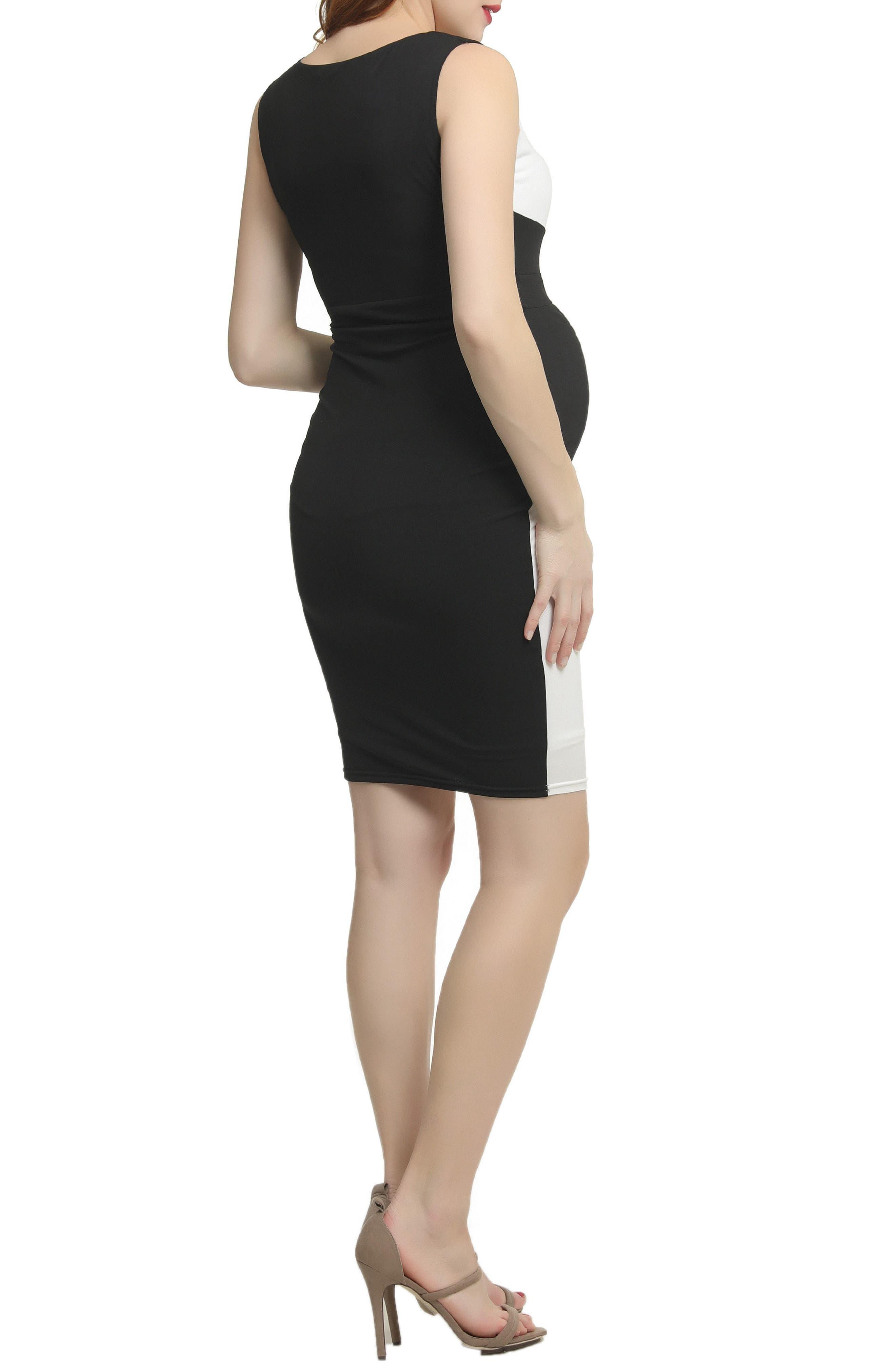Nessa Abstract Colorblock Body-Con Dress,                             Alternate thumbnail 2, color,                             Black/ White