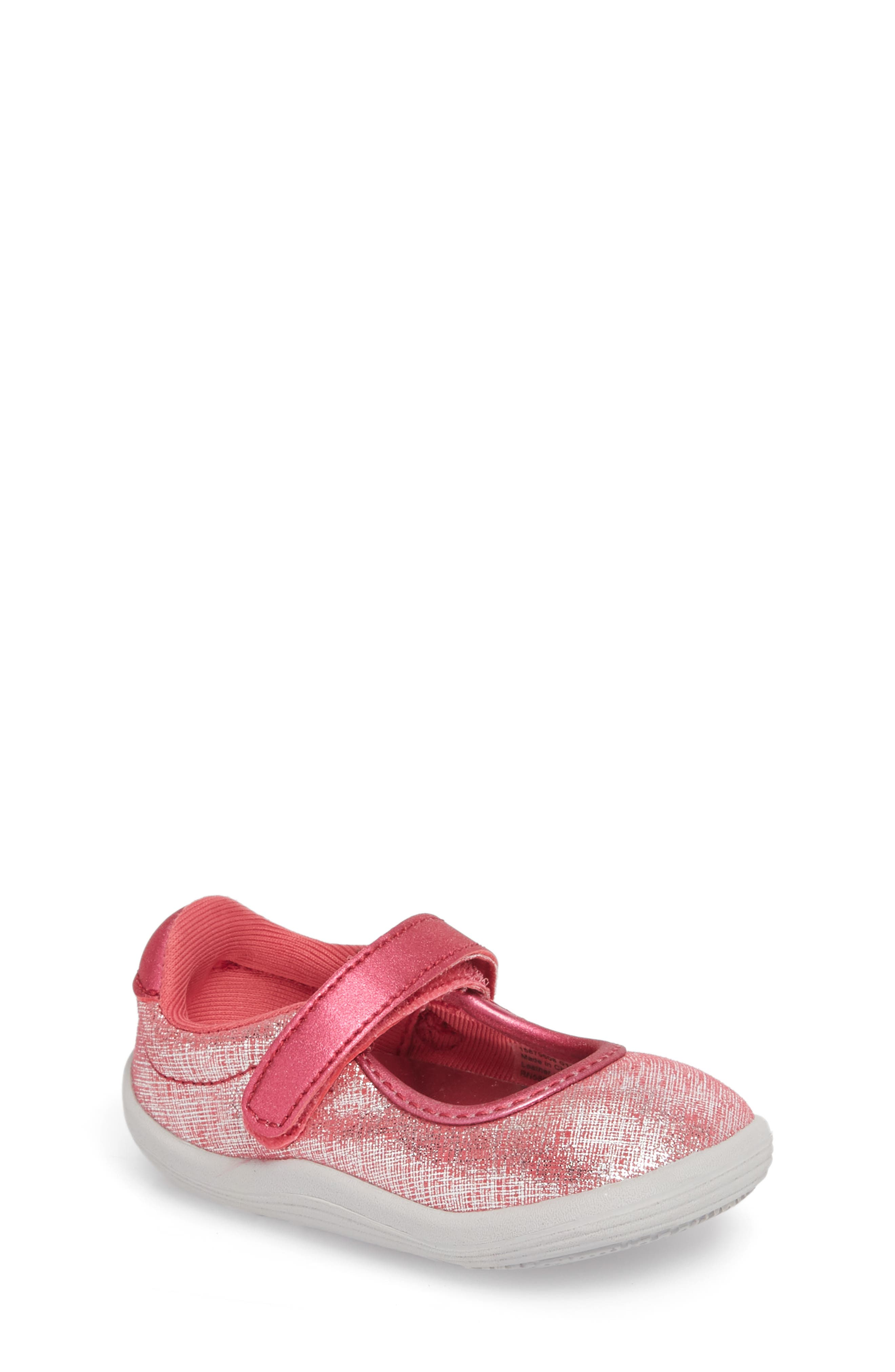 Nora Metallic Mary Jane Sneaker,                             Main thumbnail 1, color,                             Pink Shimmer Leather