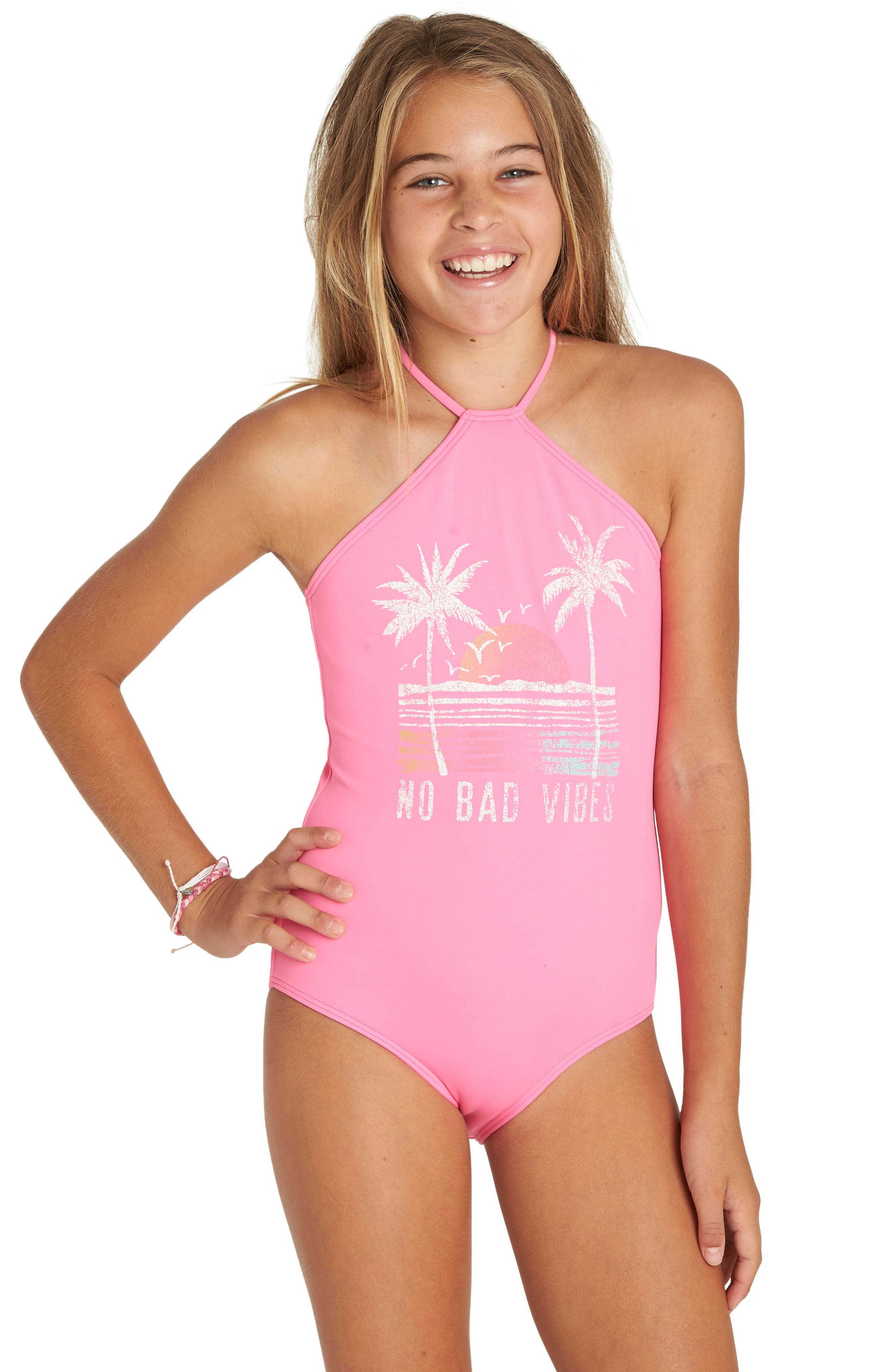 Sol Searcher One-Piece Swimsuit,                             Alternate thumbnail 4, color,                             Tahiti Pink