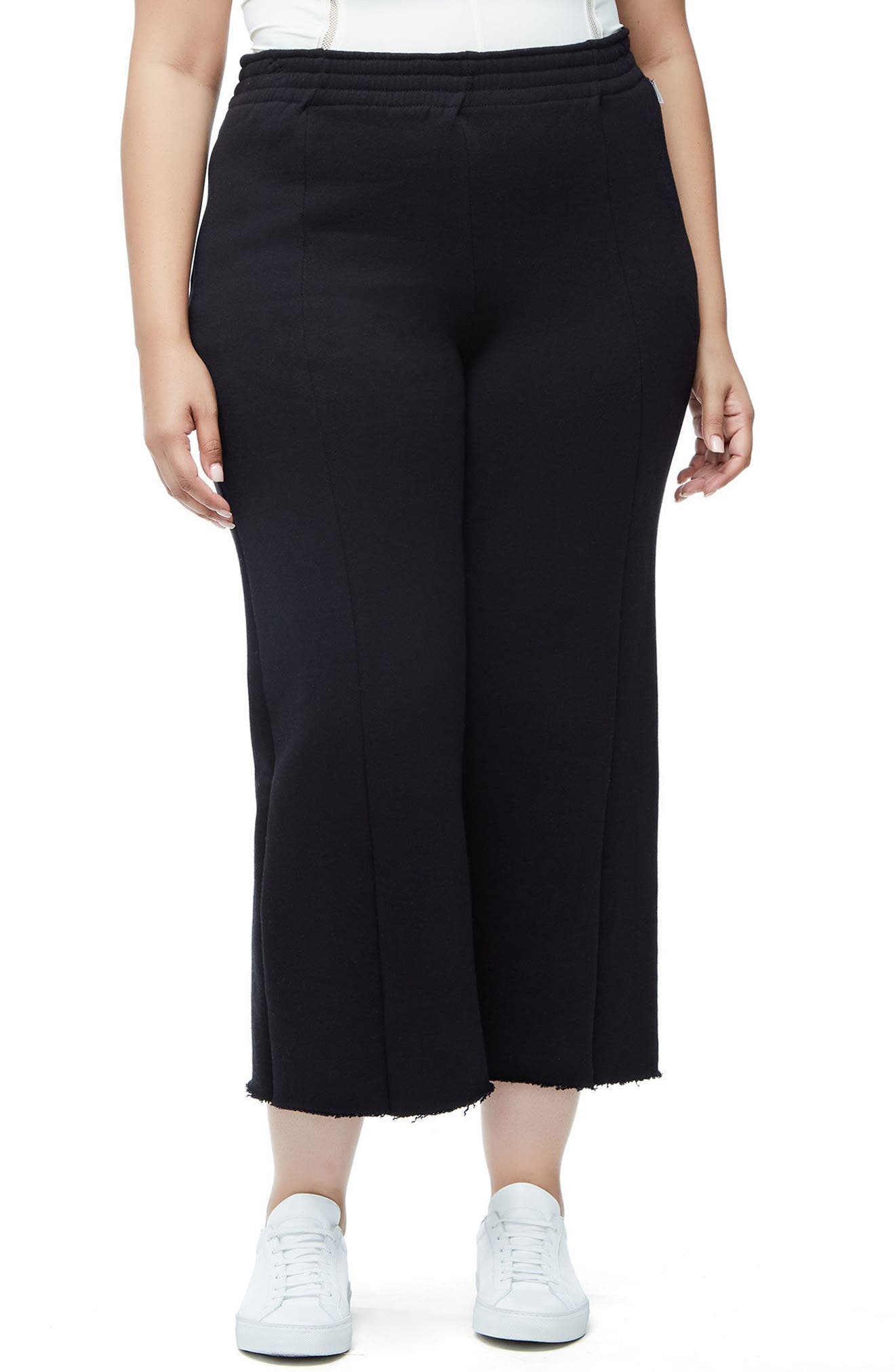 Good American High Waist Crop Wide Leg Sweatpants (Regular & Plus Size)