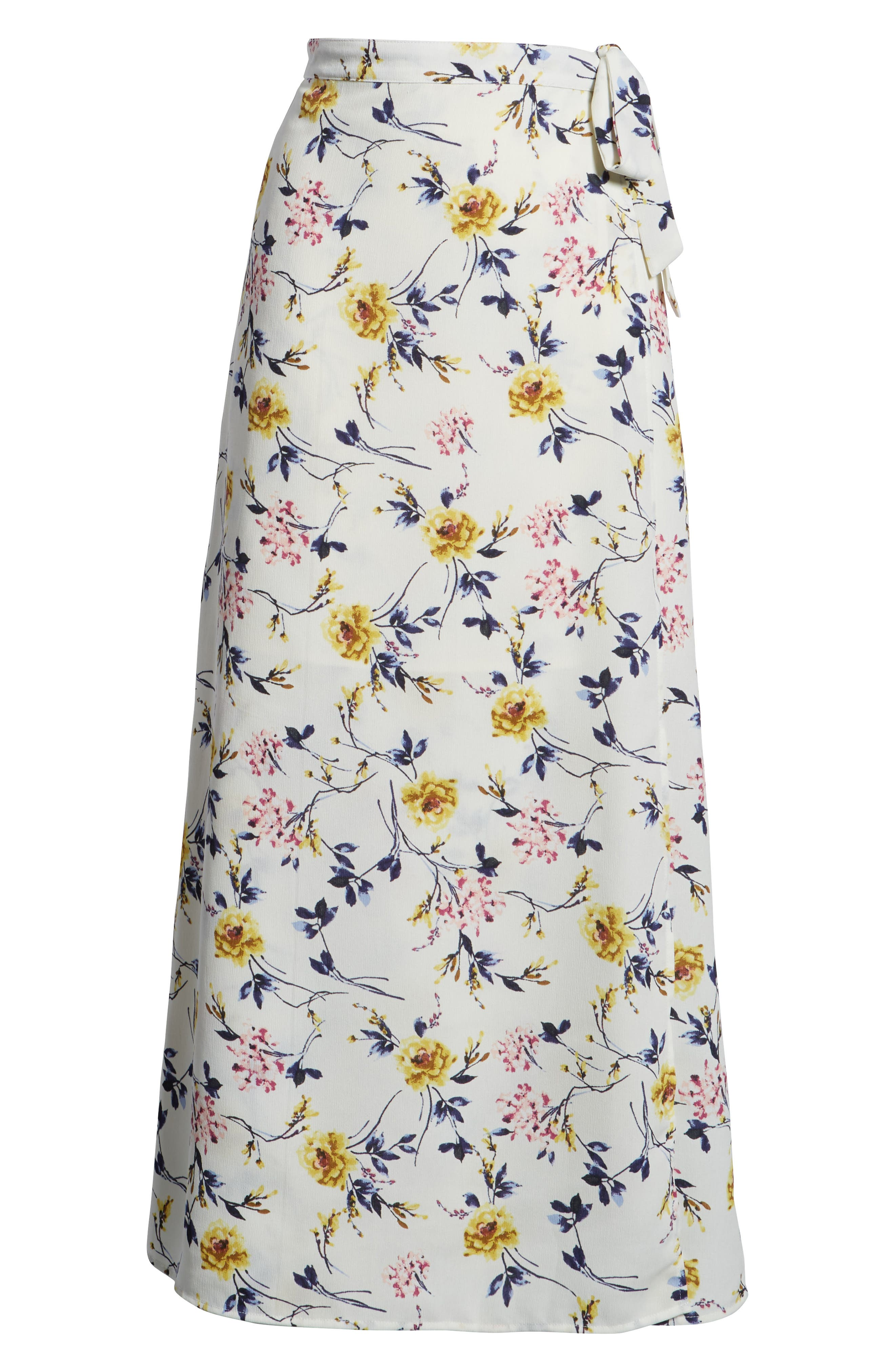 Floral Print Wrap Skirt,                             Alternate thumbnail 6, color,                             Ivory Floral