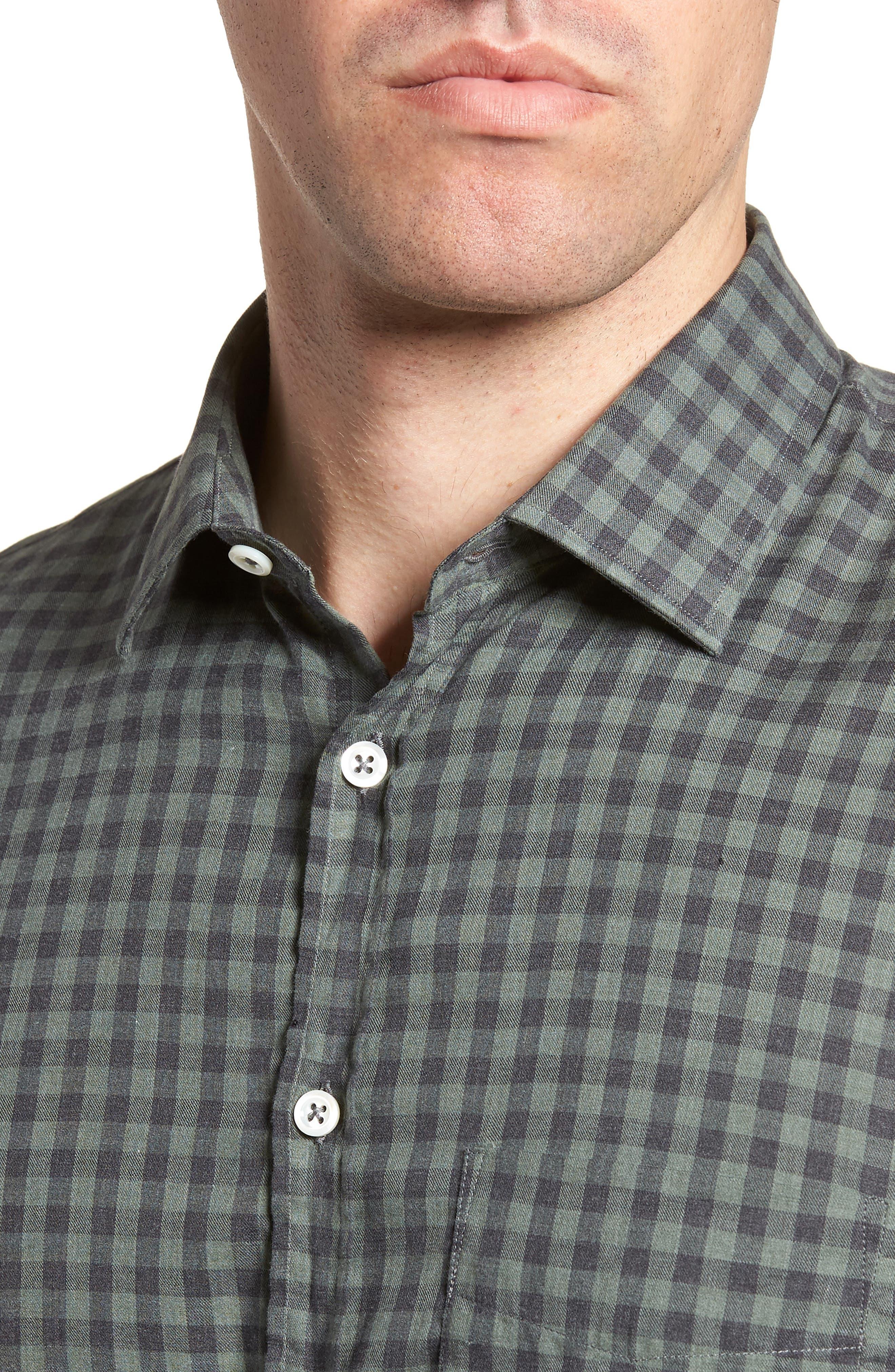 John Standard Fit Check Sport Shirt,                             Alternate thumbnail 2, color,                             Charcoal/ Green