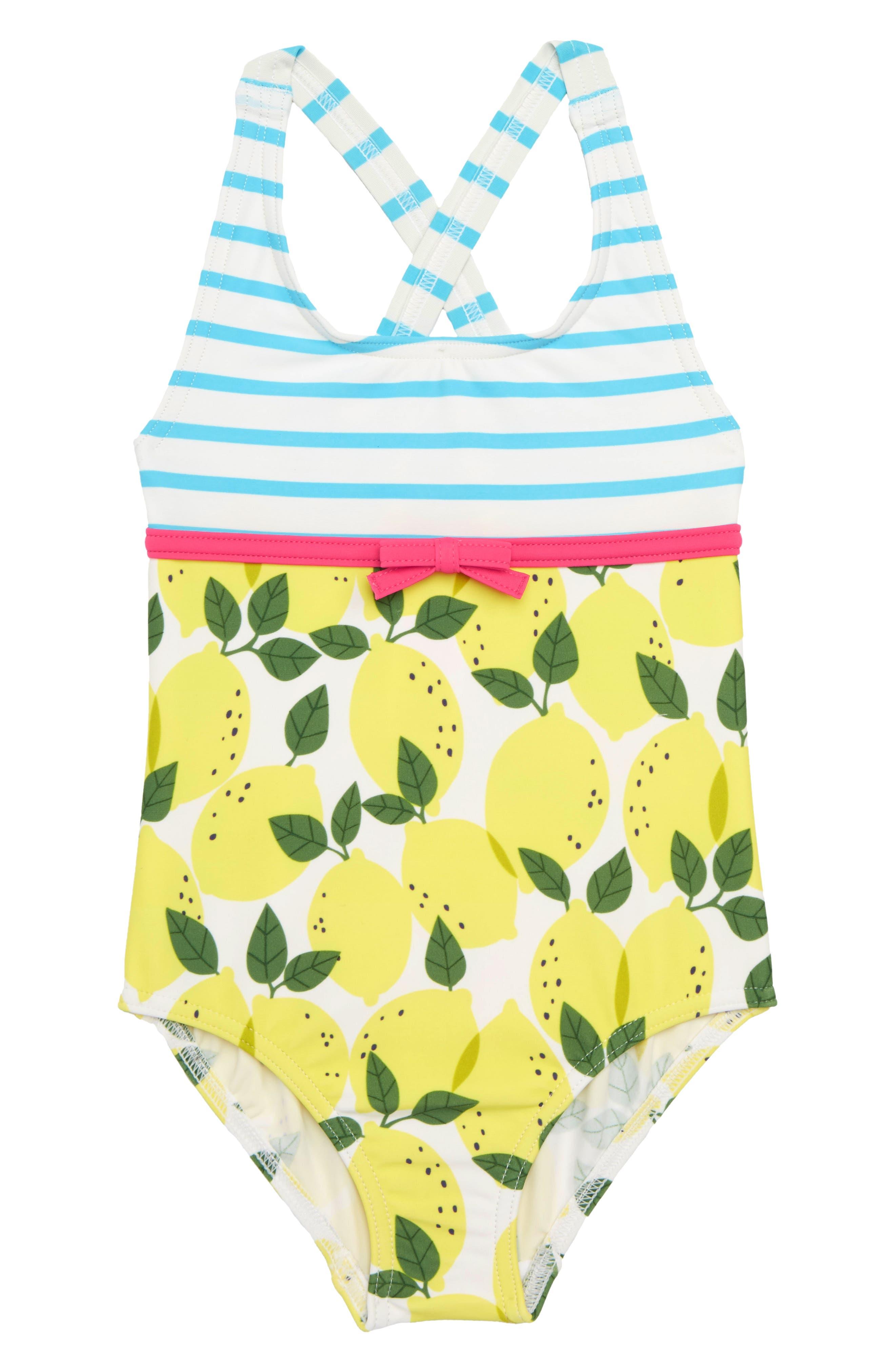 Hotchpotch One-Piece Swimsuit,                         Main,                         color, Ivory Lemon Tree Yel