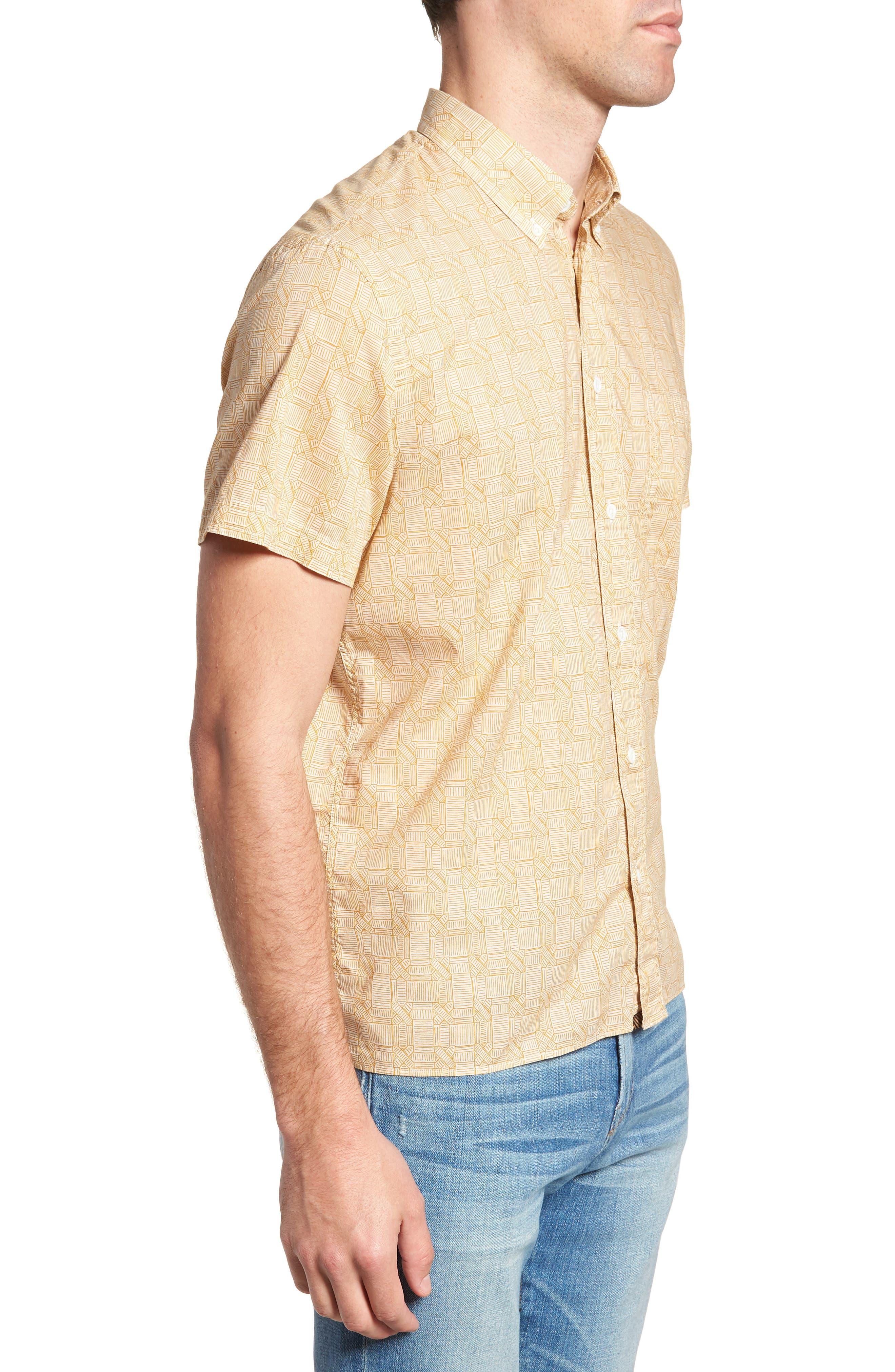 Leo Standard Fit Short Sleeve Sport Shirt,                             Alternate thumbnail 4, color,                             Mustard Docks