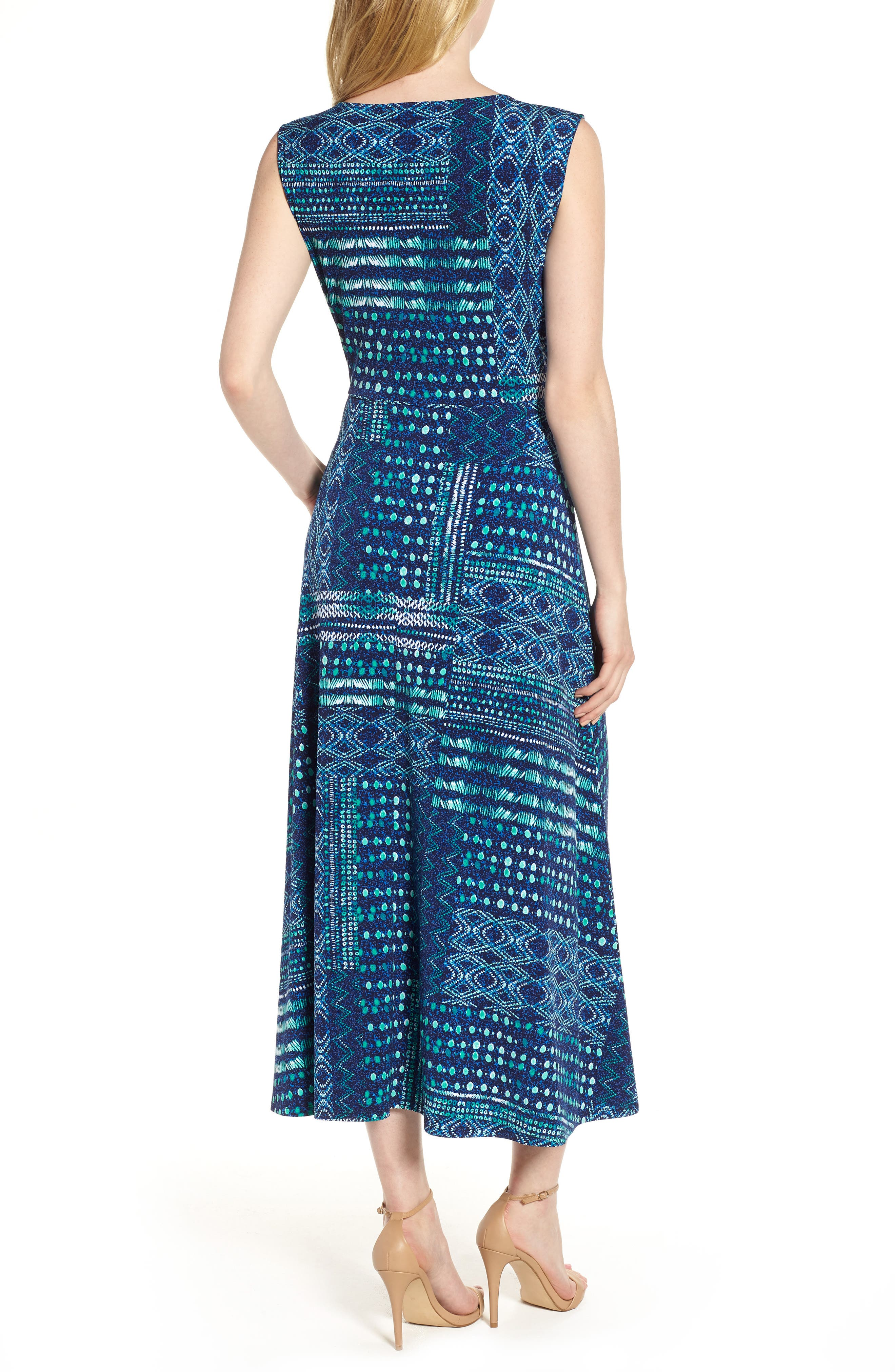 Patchwork Waves Ruched Stretch Jersey Dress,                             Alternate thumbnail 2, color,                             Evening Navy