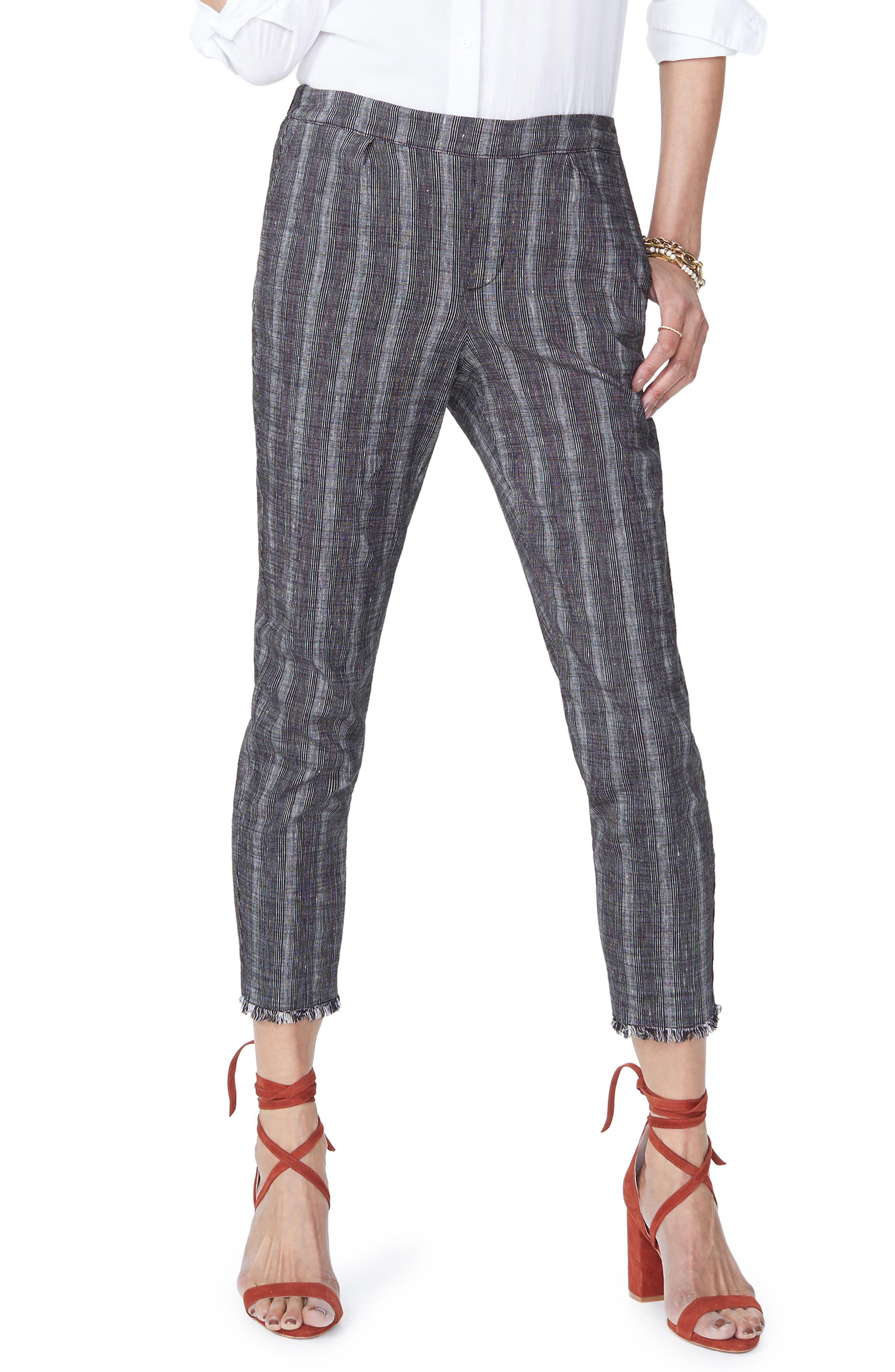 Hidden Drawstring Stripe Crop Pants,                             Main thumbnail 1, color,                             Black/ Natural