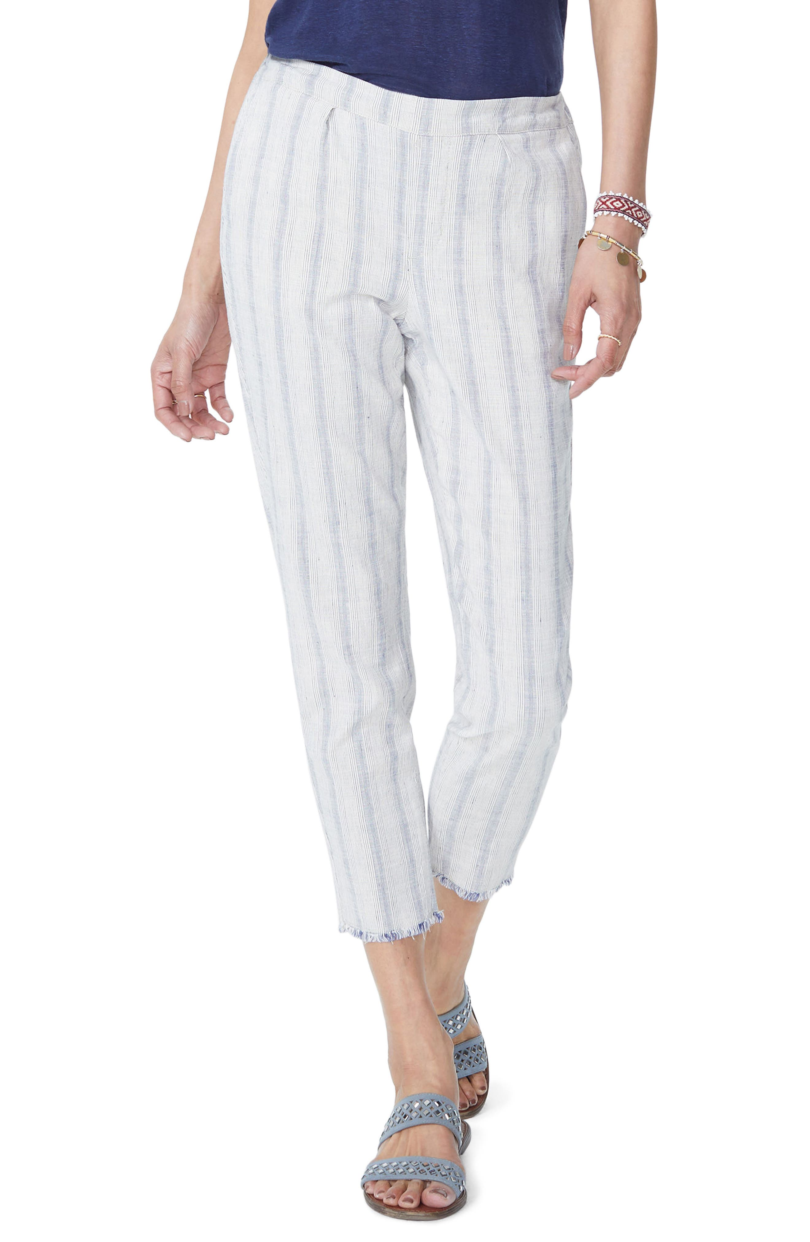 HIDDEN DRAWSTRING STRIPE CROP PANTS