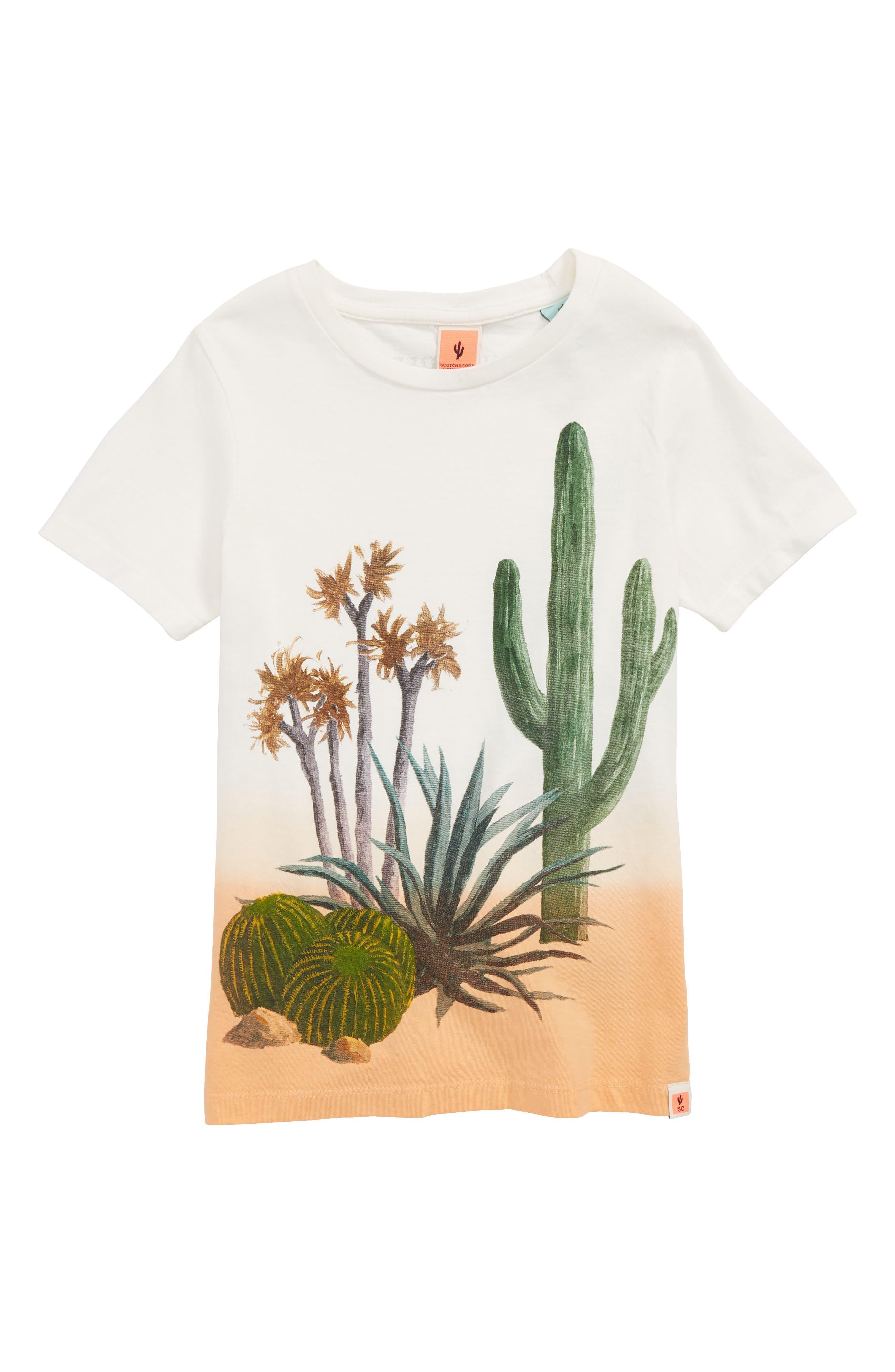 Cacti Screenprint T-Shirt,                             Main thumbnail 1, color,                             White