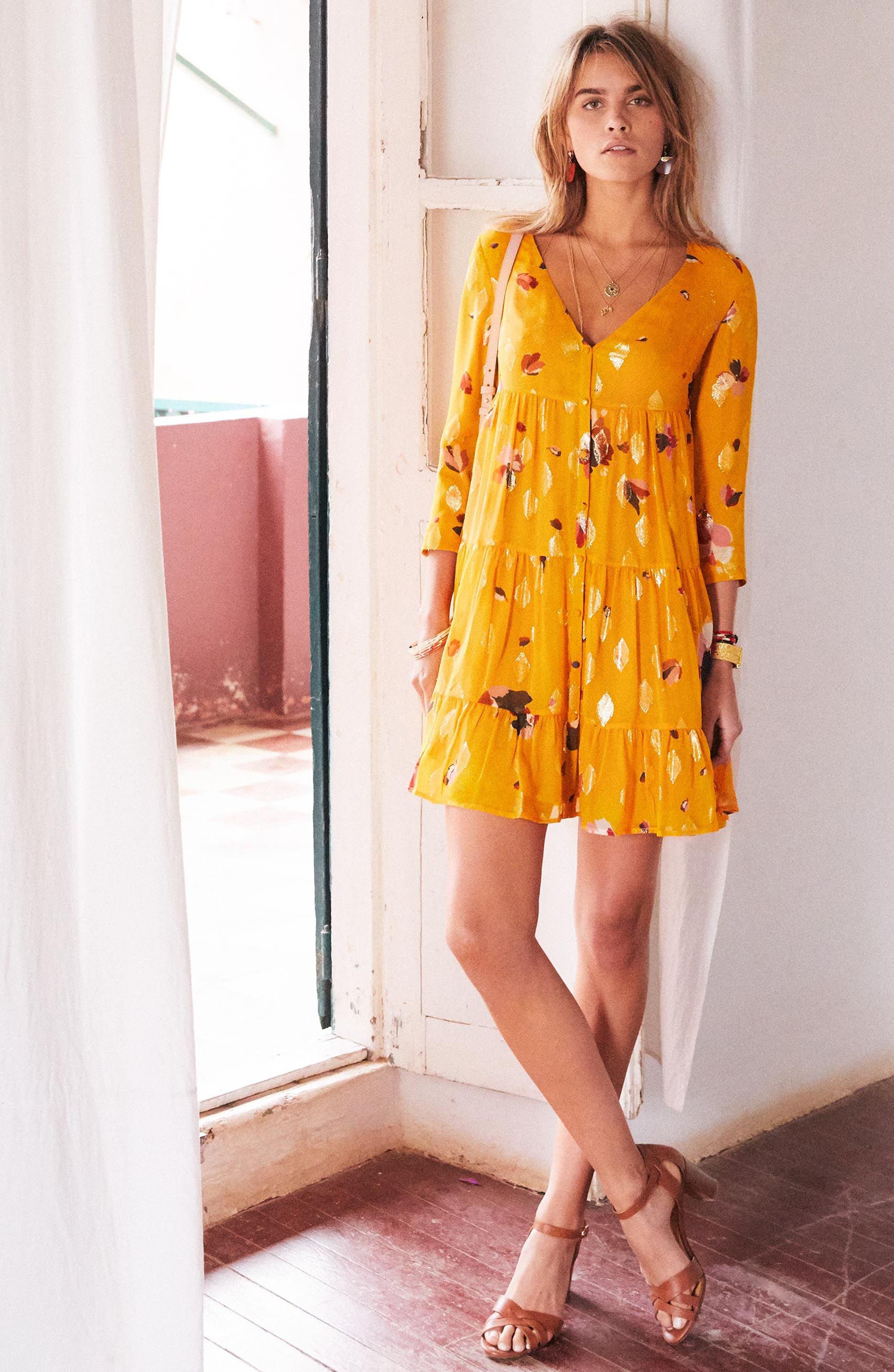 Aure Silk A-Line Dress,                             Alternate thumbnail 2, color,                             Big Flowers 60S On Saffron