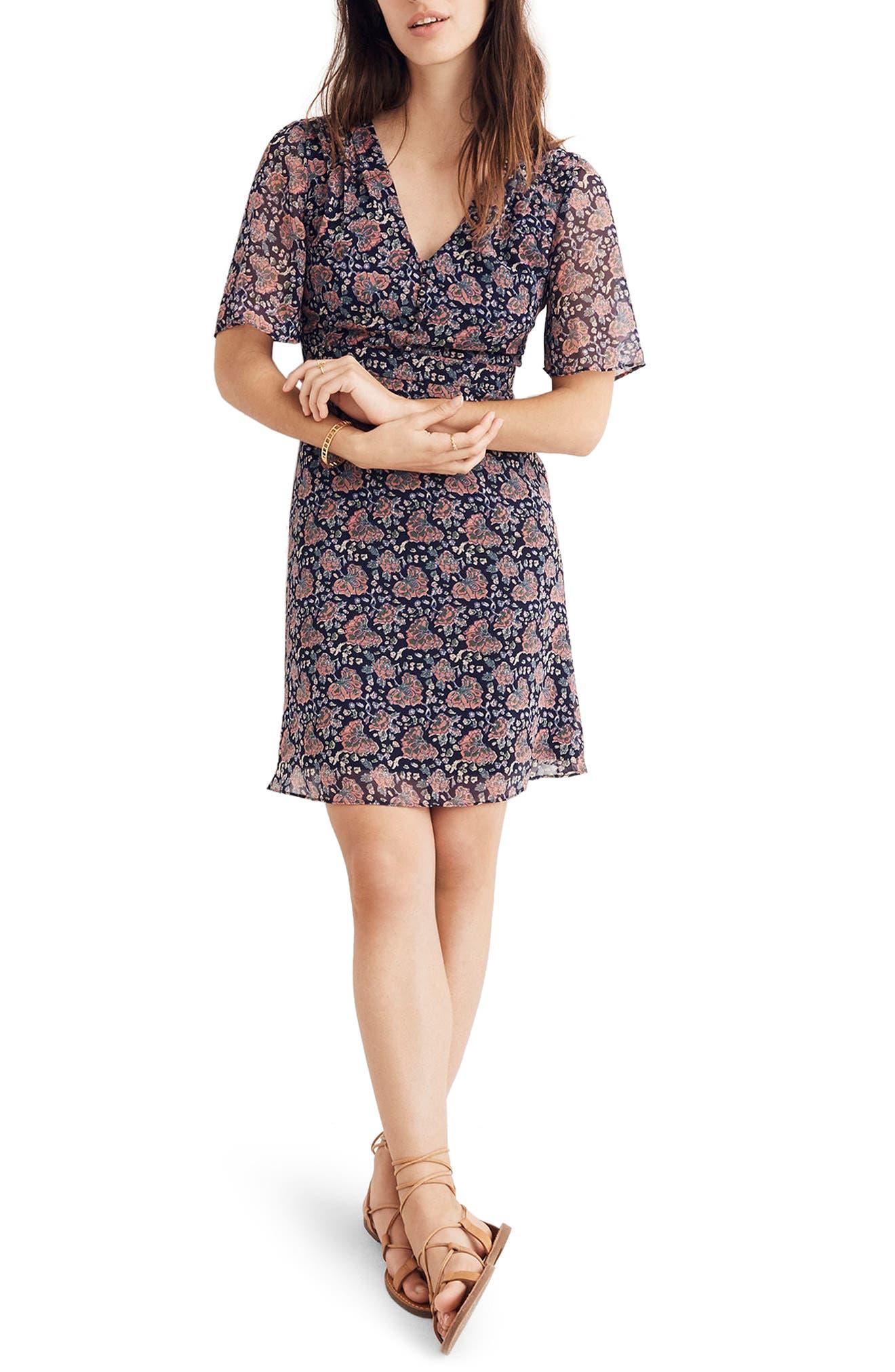 Orchard Flutter Sleeve Dress,                         Main,                         color, Block Print Floral