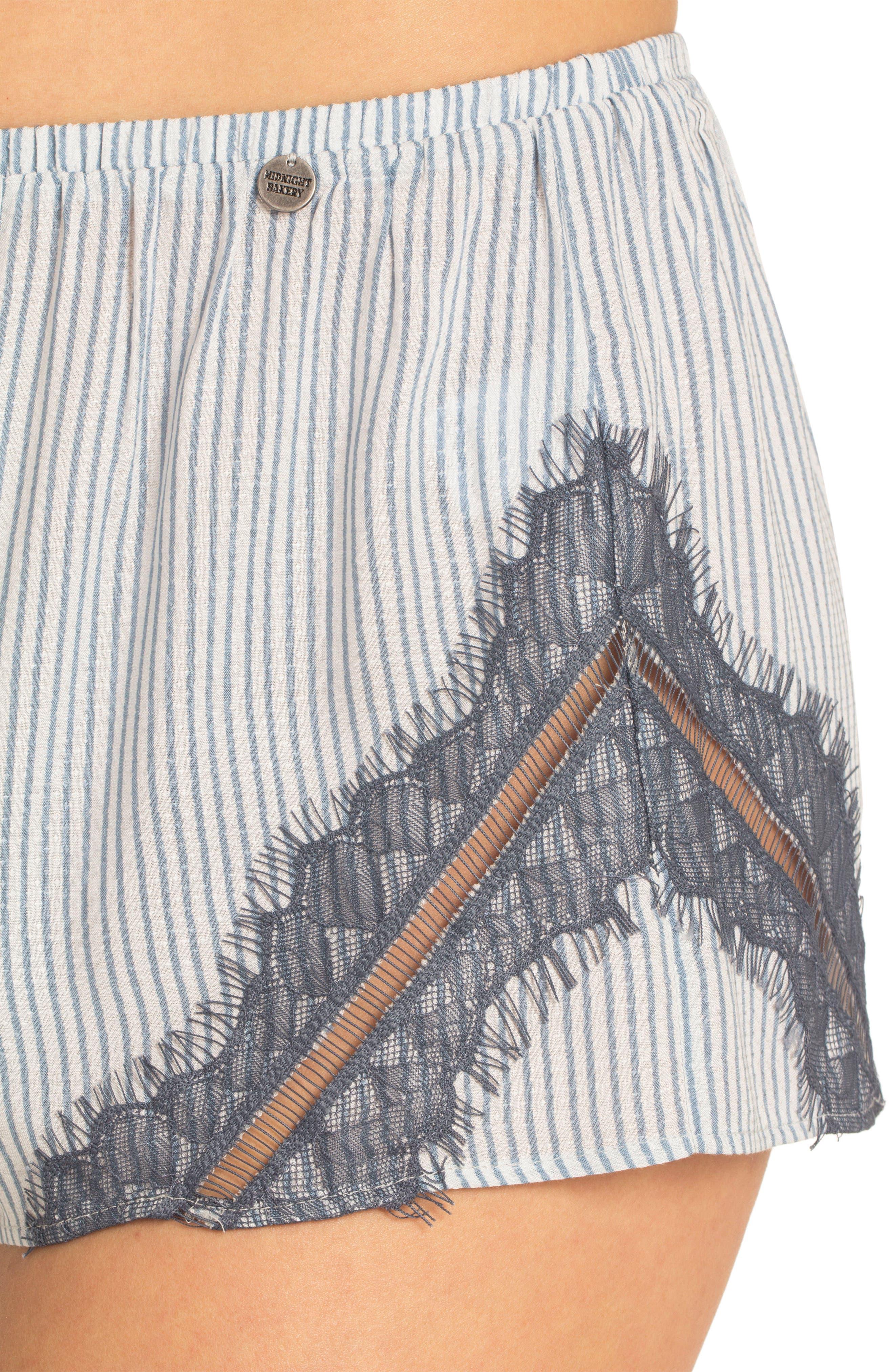 Short Pajamas,                             Alternate thumbnail 5, color,                             Denim Stripe