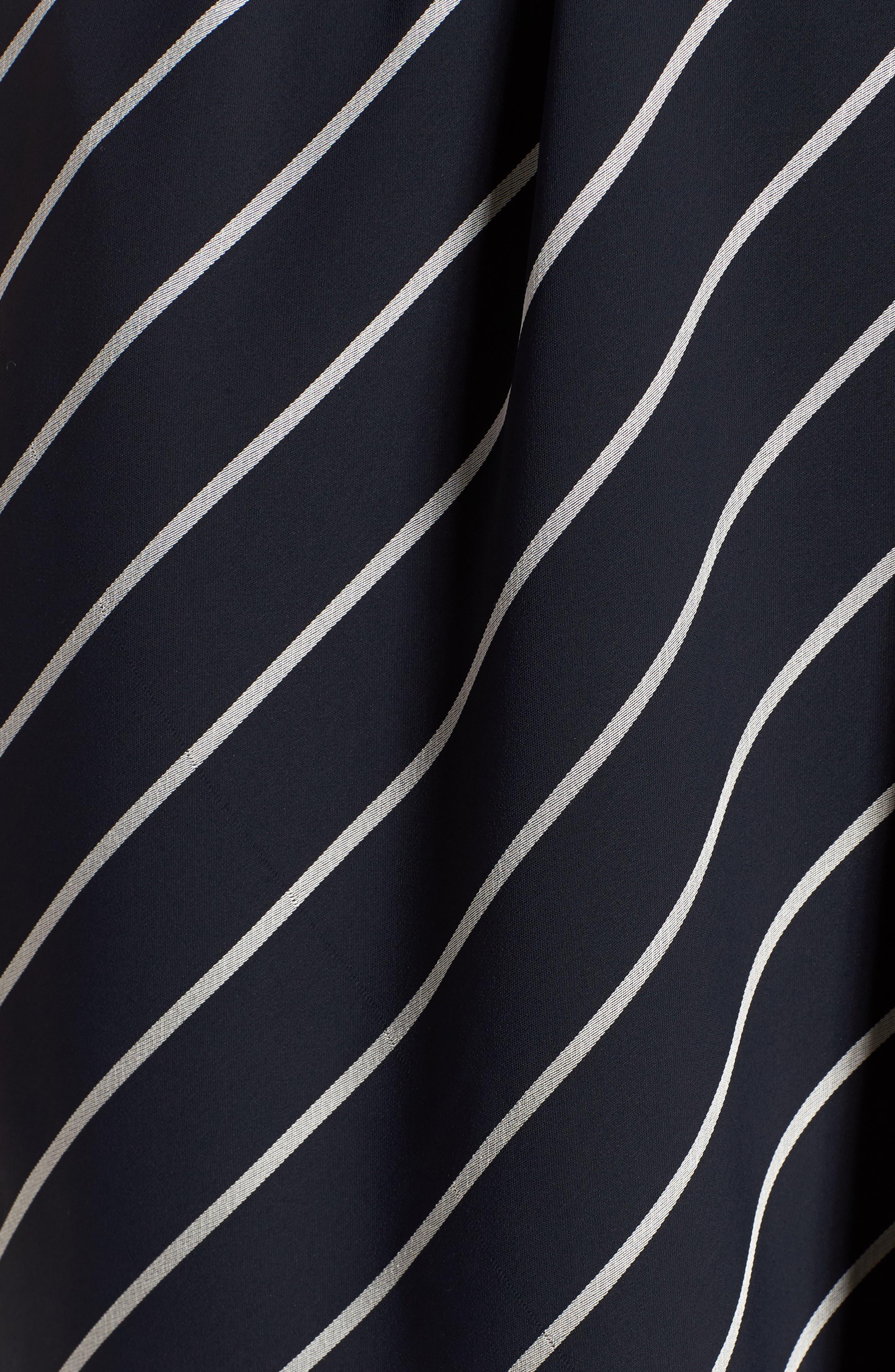 Pinstripe Ruffle Wrap Dress,                             Alternate thumbnail 6, color,                             Navy/ White