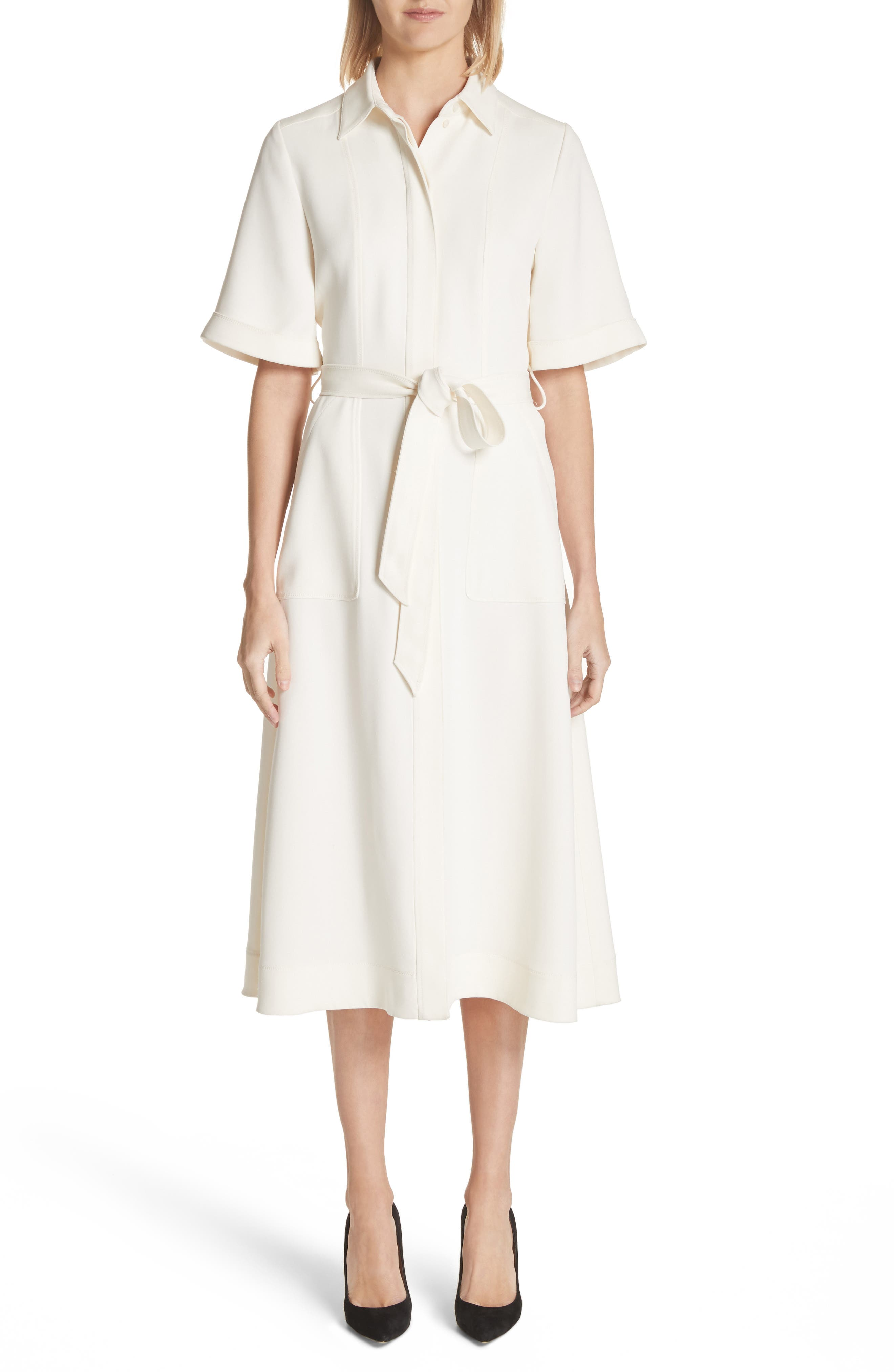 Carmen Belted Shirtdress,                             Main thumbnail 1, color,                             Off White