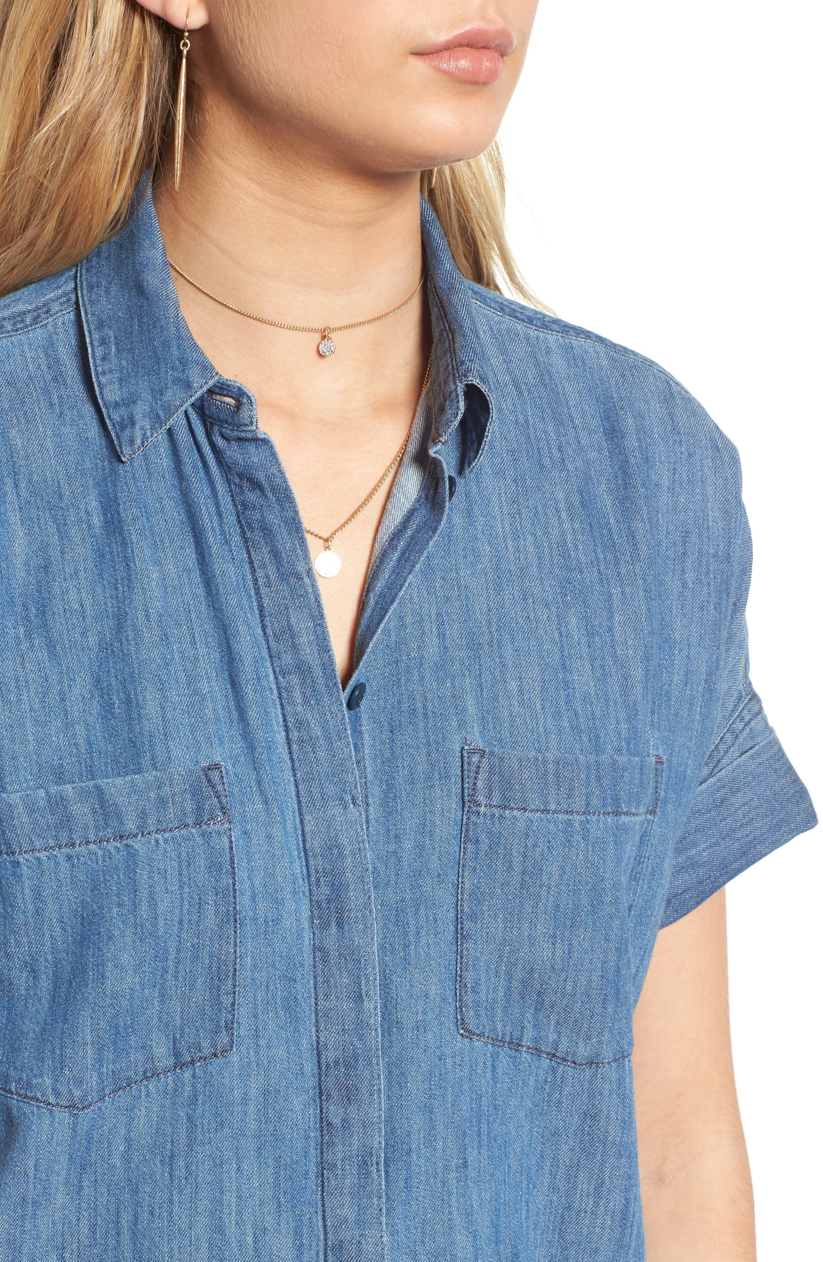 Courier Denim Shirtdress,                             Alternate thumbnail 4, color,                             Lauryn Wash