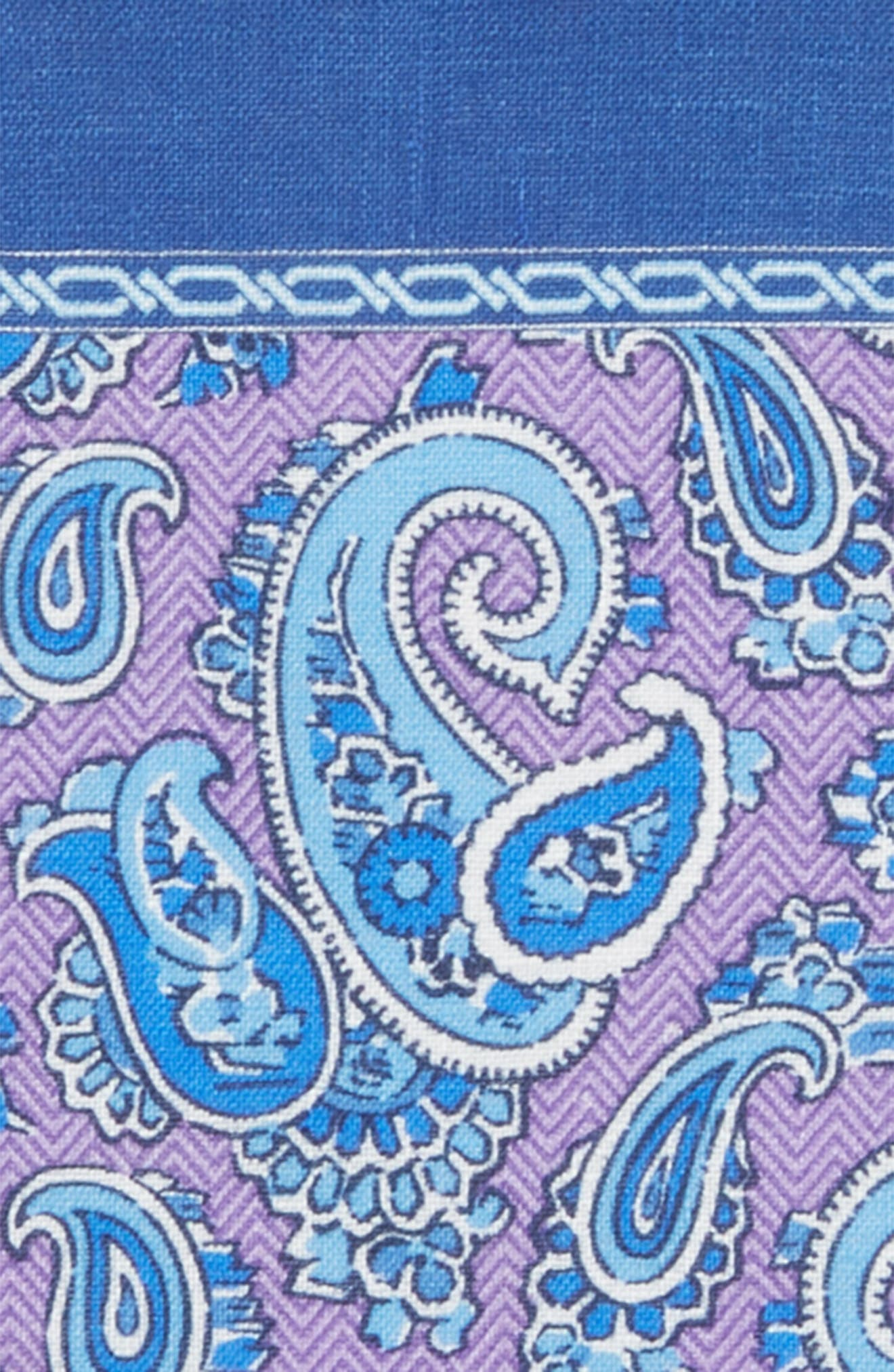 Paisley Silk Pocket Square,                             Alternate thumbnail 3, color,                             Purple