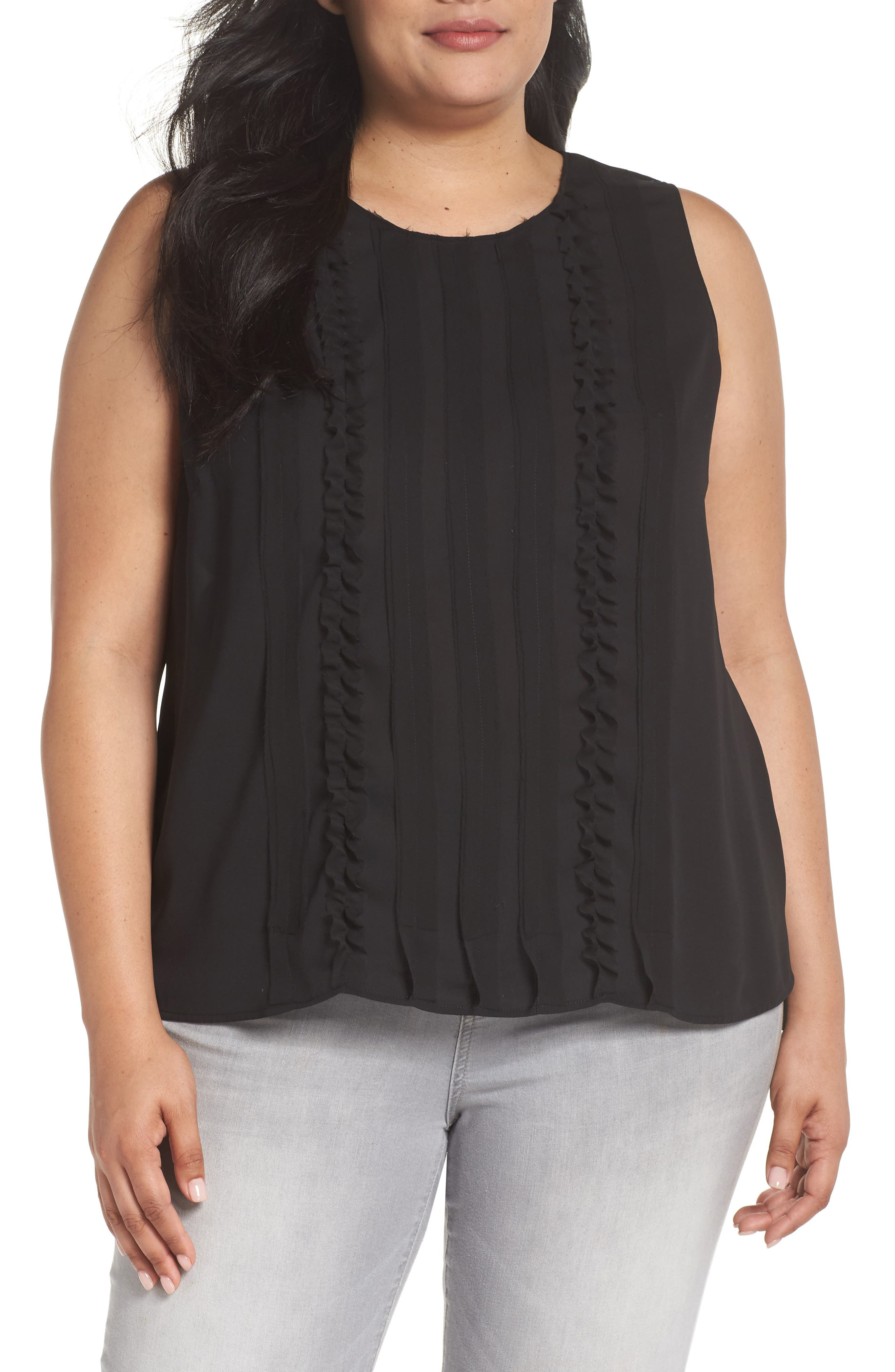 Ruffle Front Tank,                         Main,                         color, Black