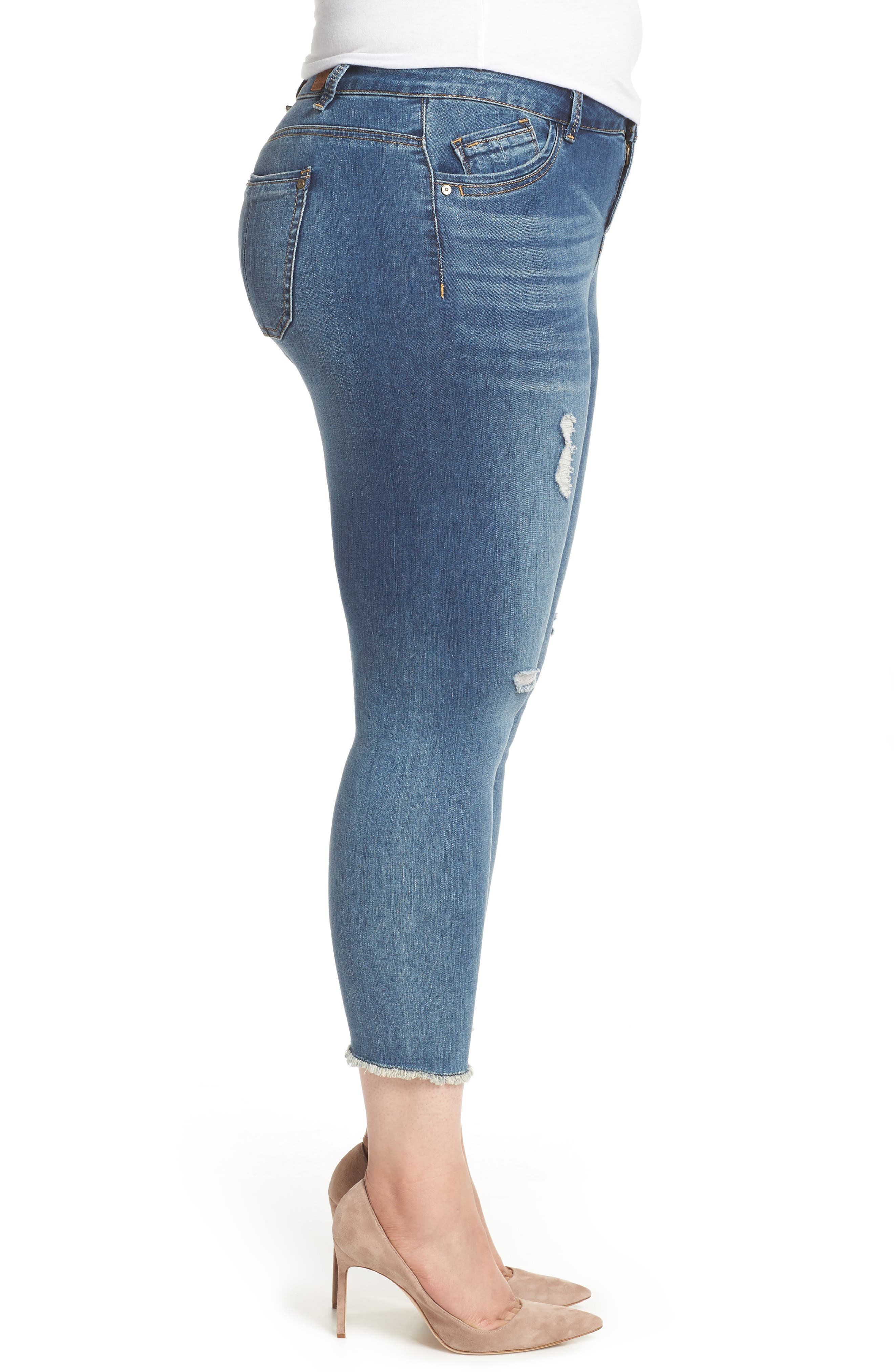 Seamless Ankle Skimmer Jeans,                             Alternate thumbnail 3, color,                             Blue