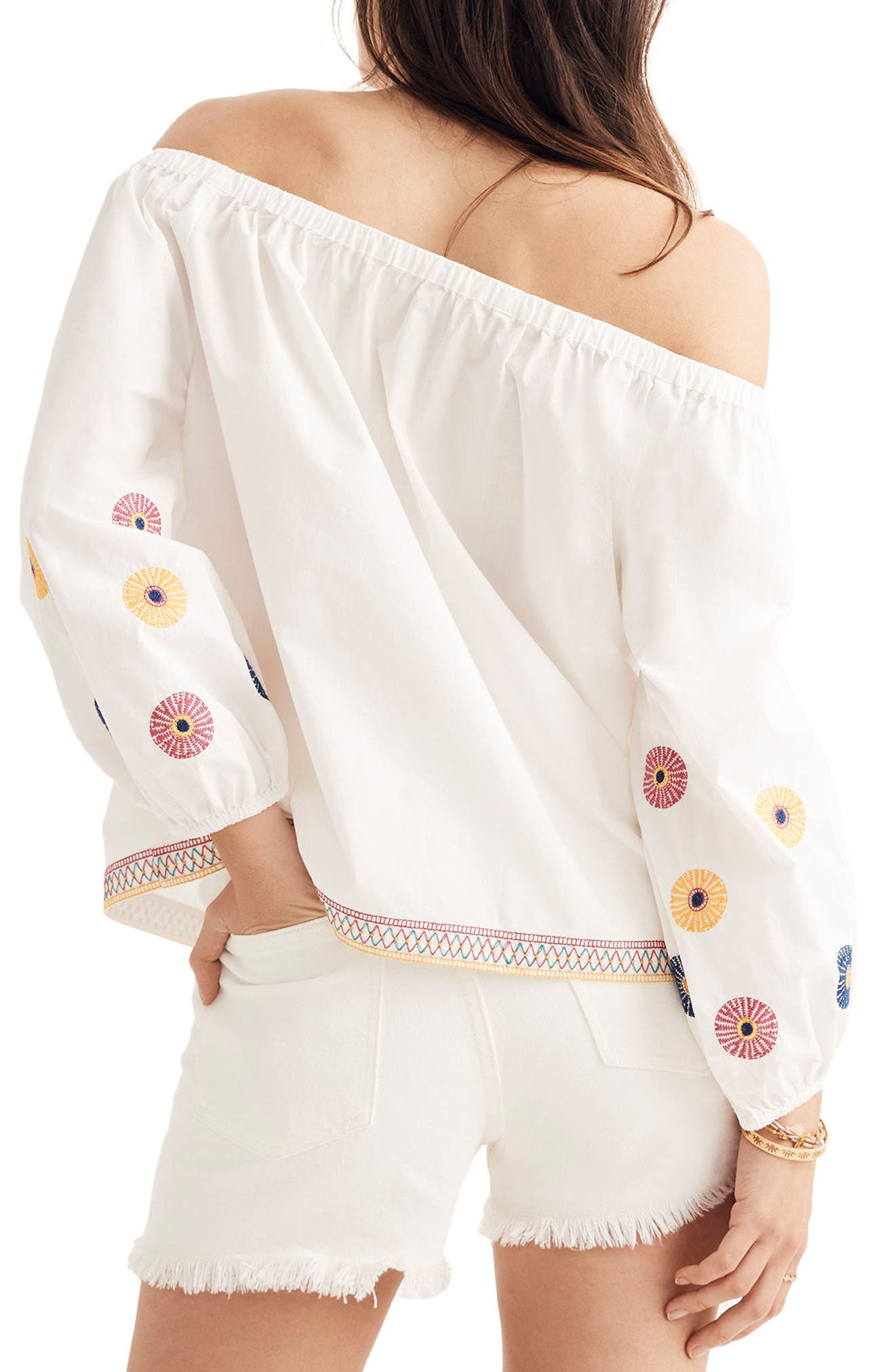 Embroidered Off the Shoulder Top,                             Alternate thumbnail 2, color,                             White Wash