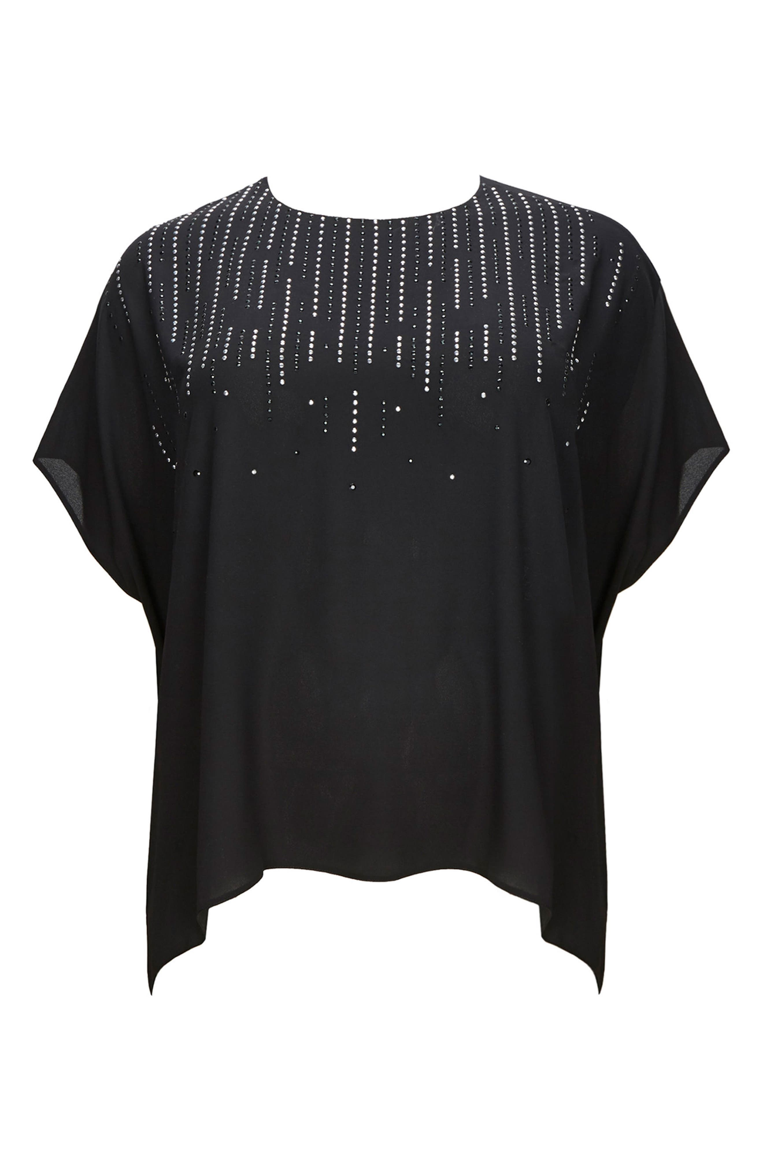 Embellished High/Low Top,                             Main thumbnail 1, color,                             Black