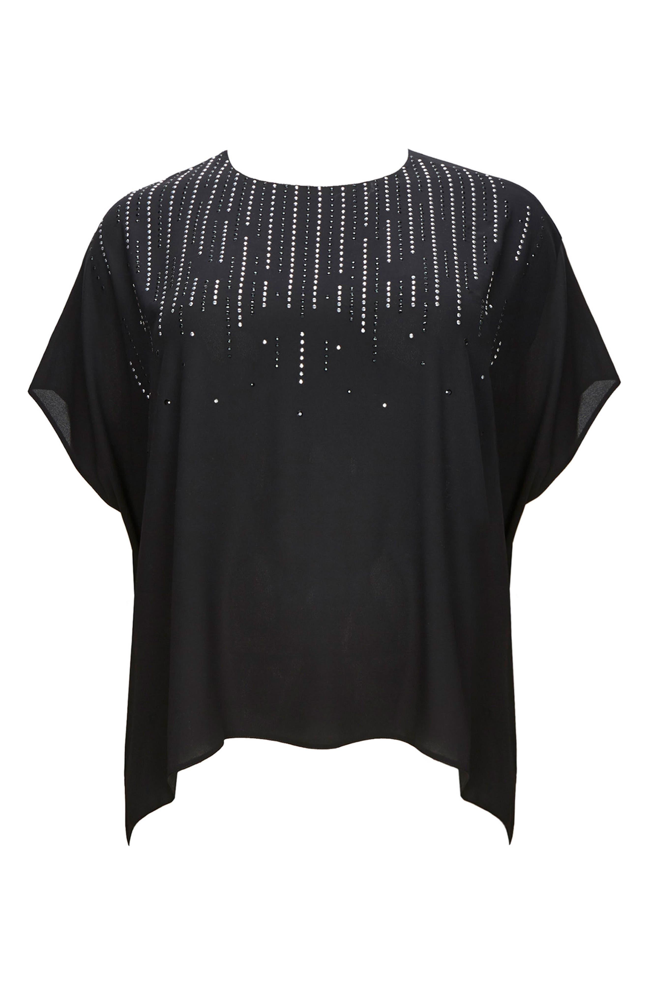 Embellished High/Low Top,                         Main,                         color, Black