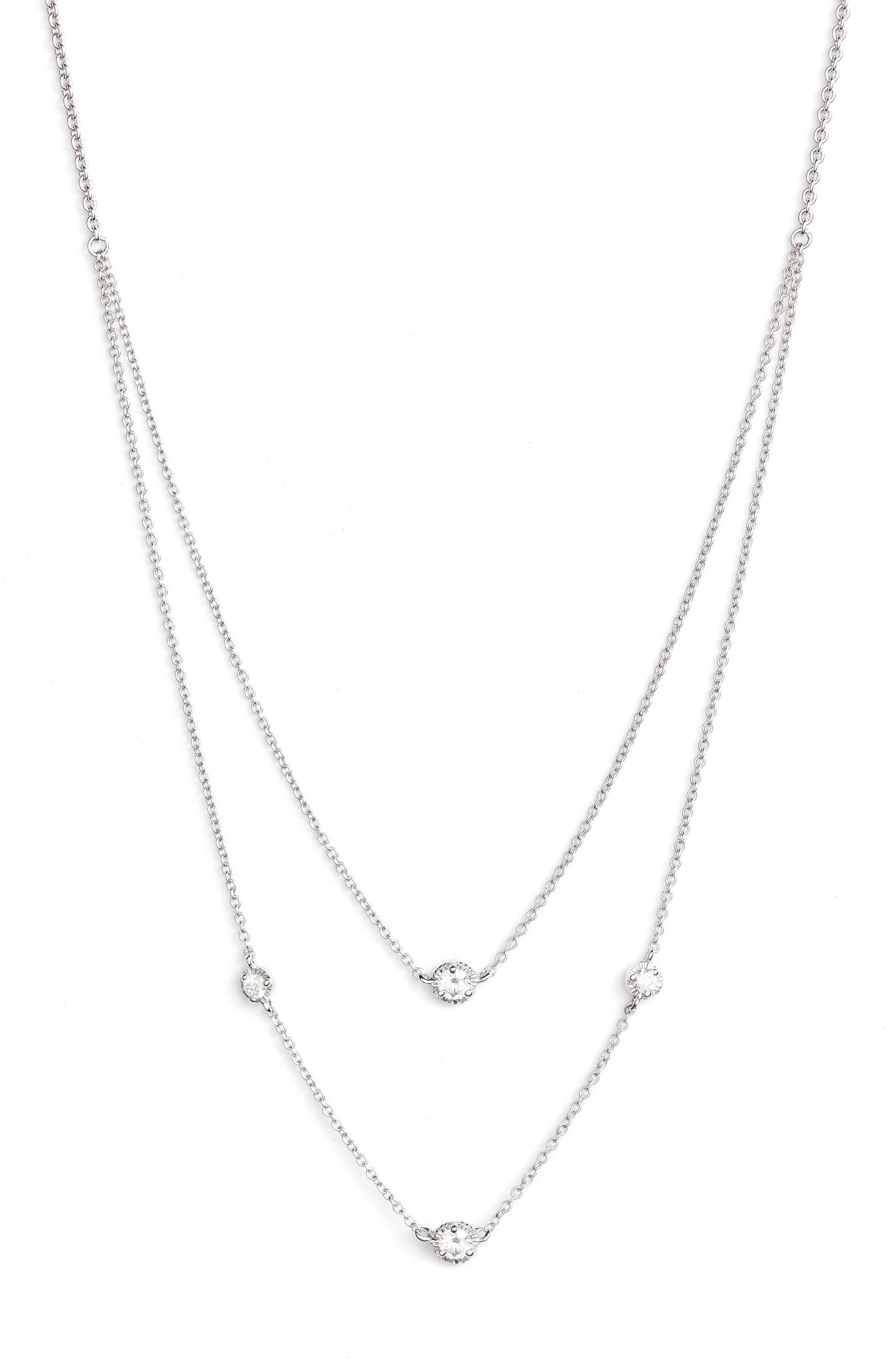 Mila Double Layer Diamond Station Necklace,                         Main,                         color, White Gold