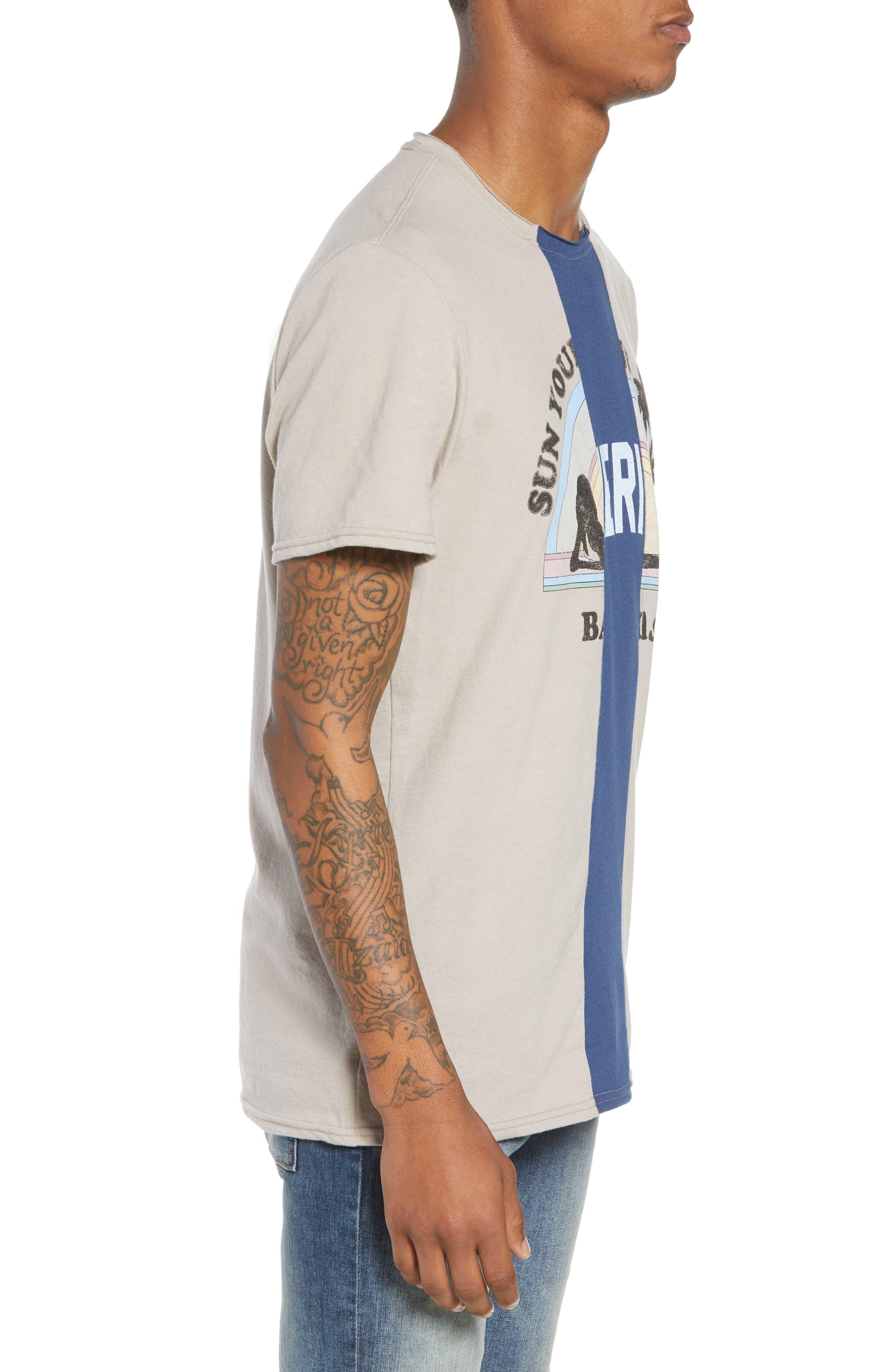 Tri-Splice T-Shirt,                             Alternate thumbnail 3, color,                             Beige Navy Sun Splice