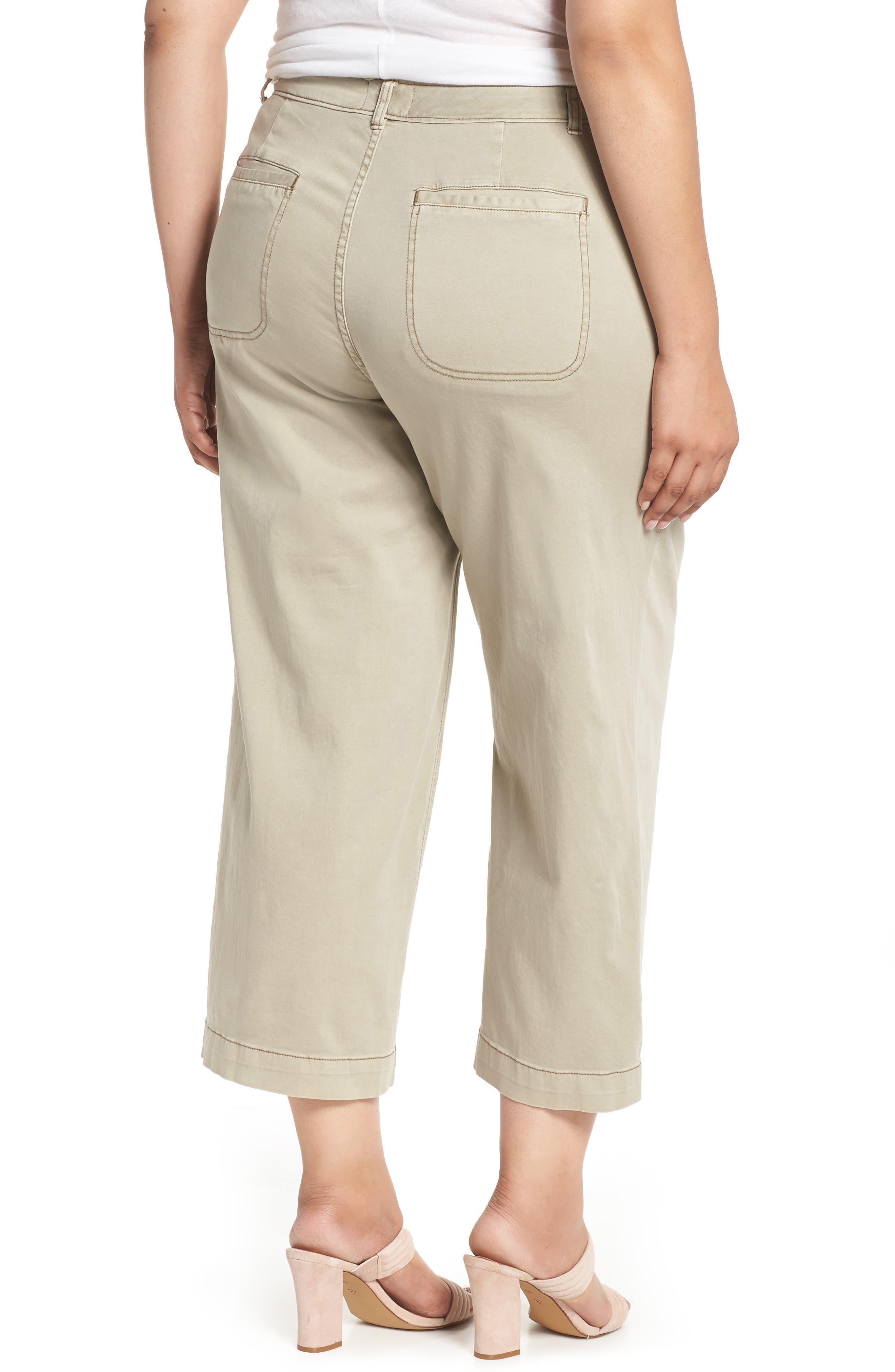 Wide Leg Stretch Cotton Twill Crop Pants,                             Alternate thumbnail 2, color,                             Tan Cobblestone